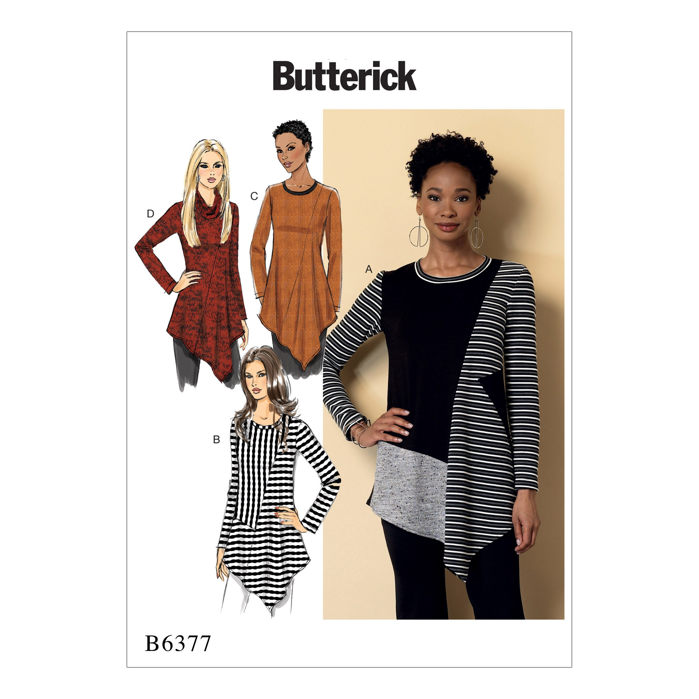 Butterick Sewing Pattern 6377 Misses' Seamed Tunics with Asymmetrical Hems