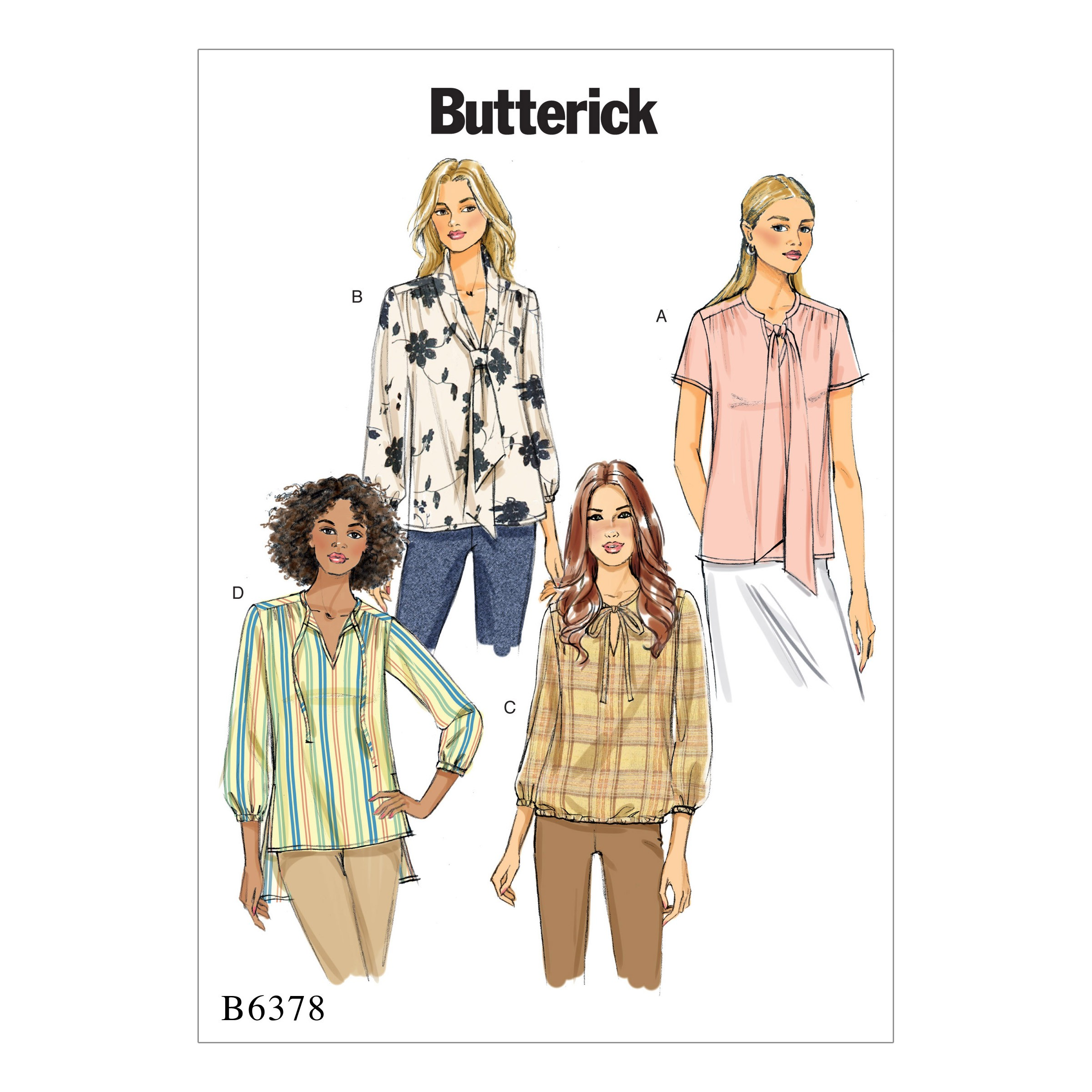 Butterick Sewing Pattern 6378 Misses' Gathered Tops & Tunics With Neck Ties