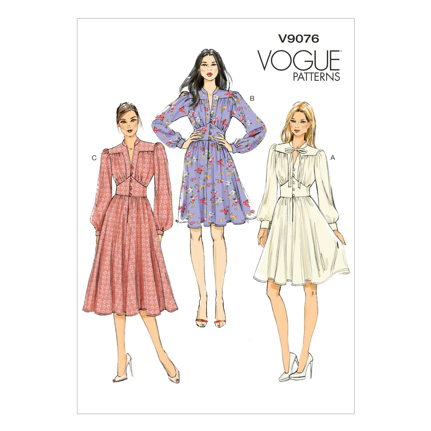 Vogue Sewing Pattern V9076 Women's Dress With Fitted Bodice