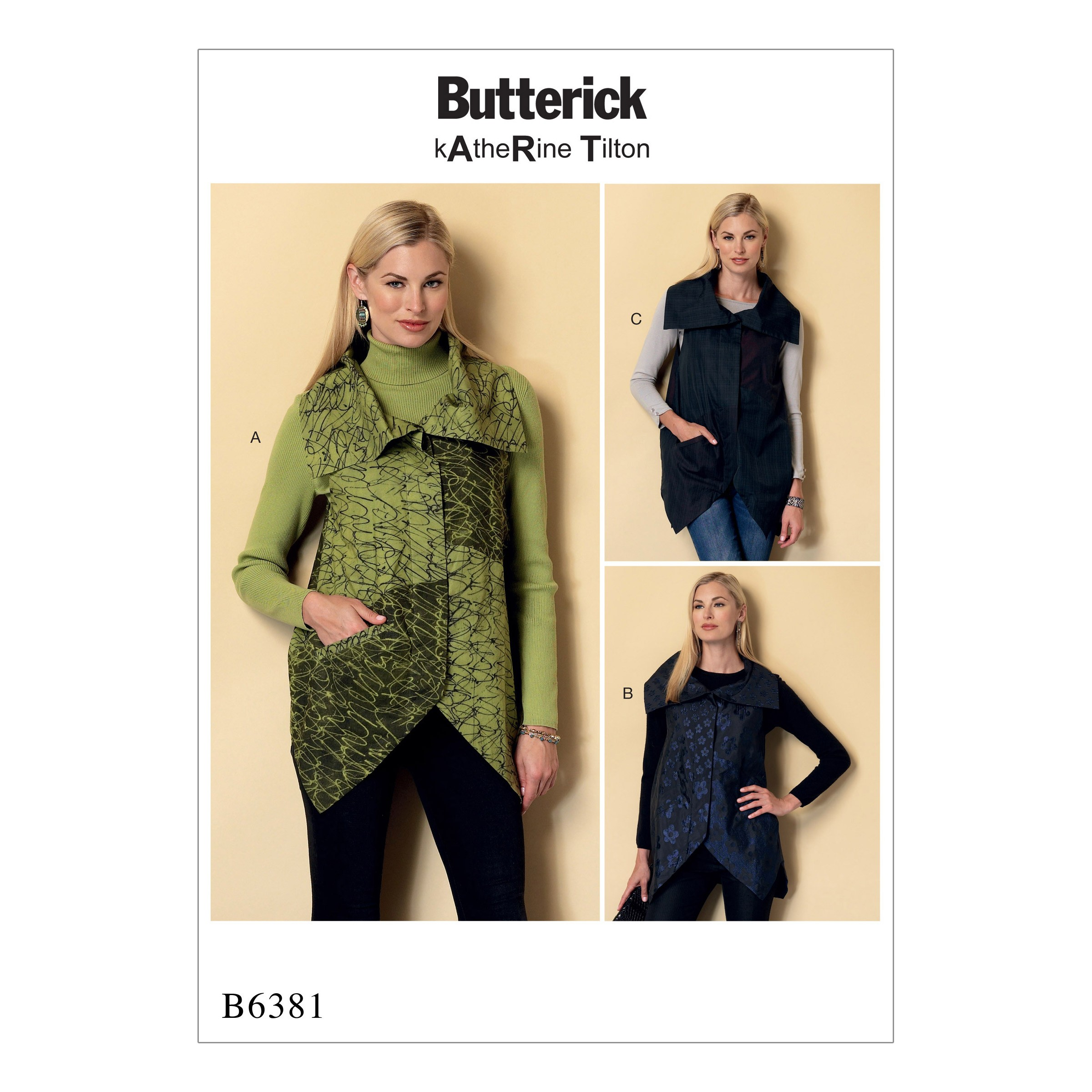 Butterick Sewing Pattern 6381 Misses' Collared Vests with Asymmetrical Hems