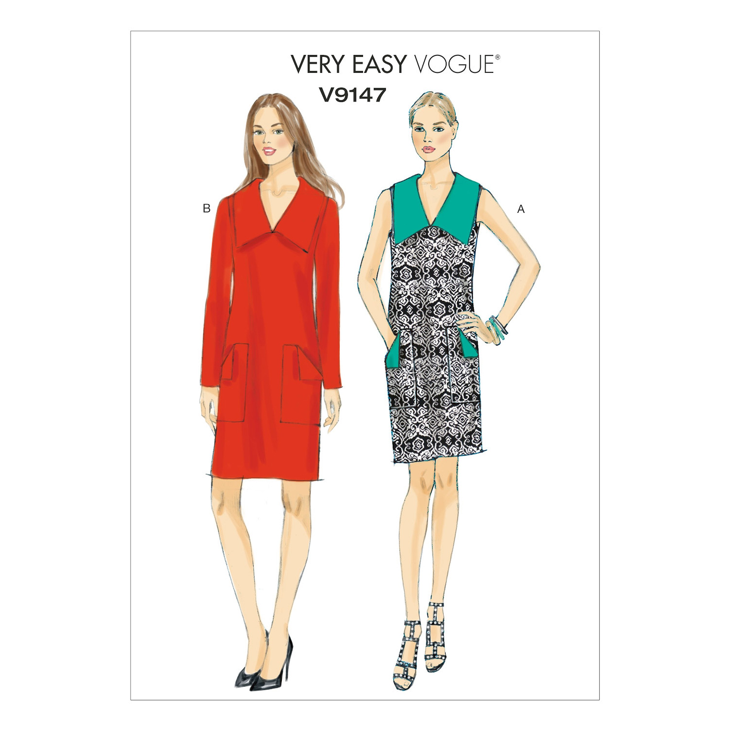 Vogue Sewing Pattern V9147 Women's Misses' Pullover Dress