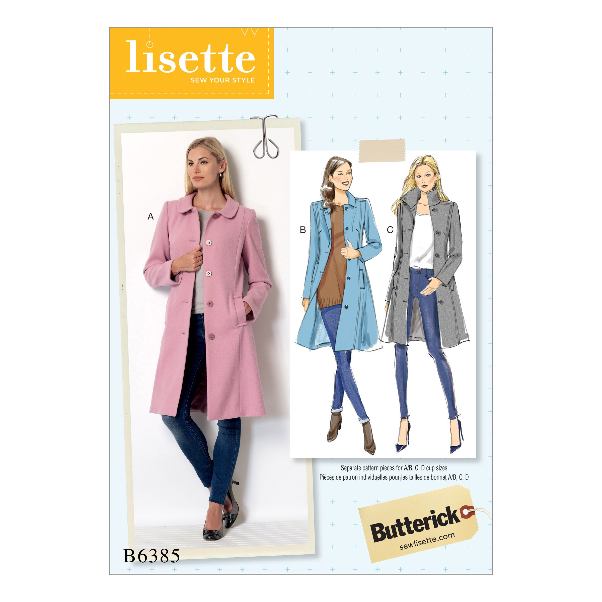 Butterick Sewing Pattern 6385 Misses' Funnel Neck Peter Pan Pointed Collar Coats