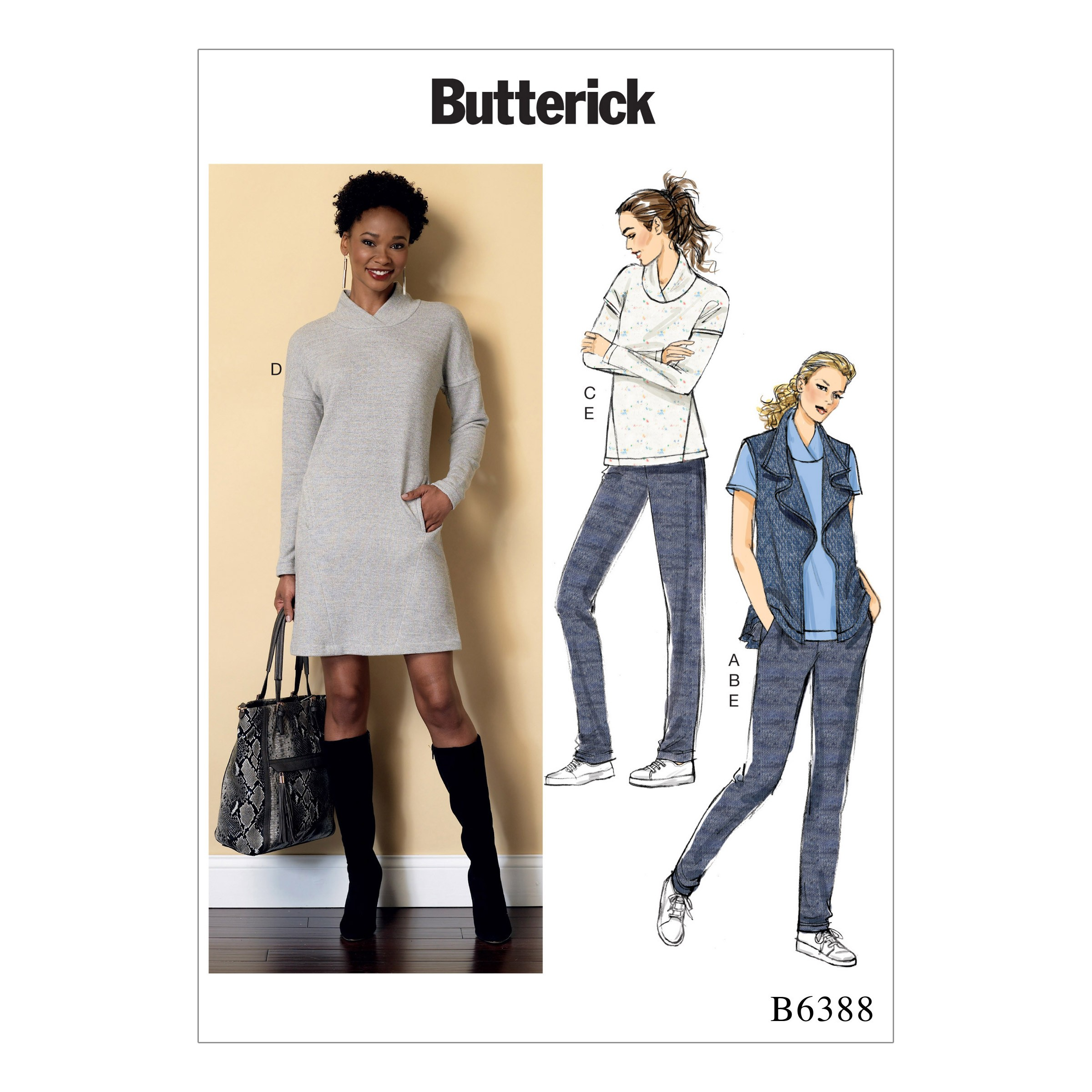 Butterick Sewing Pattern 6388 Misses' Lapped Collar Top Dress & Pleated Trousers