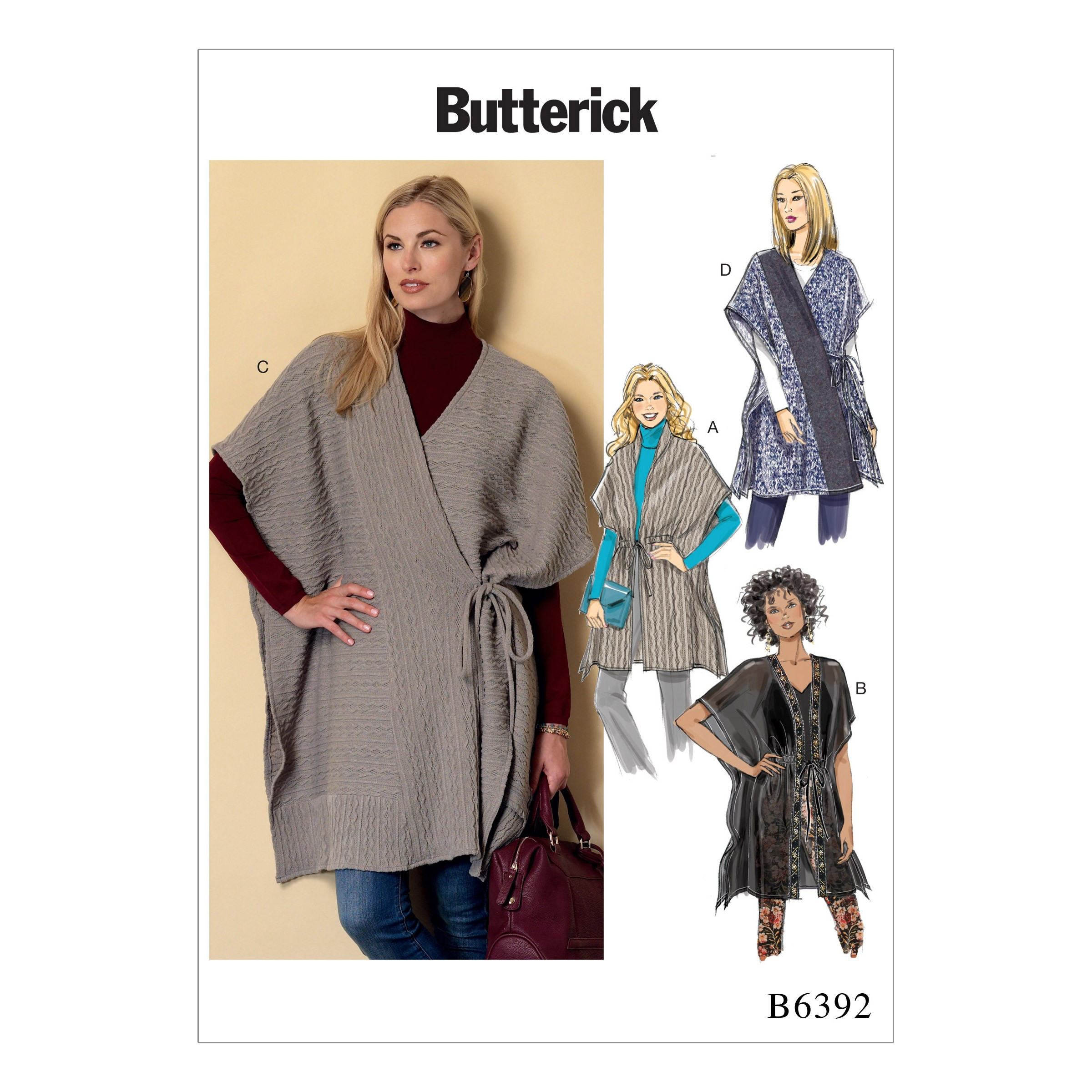 Butterick Sewing Pattern 6392 Misses' Banded or Collared Wraps
