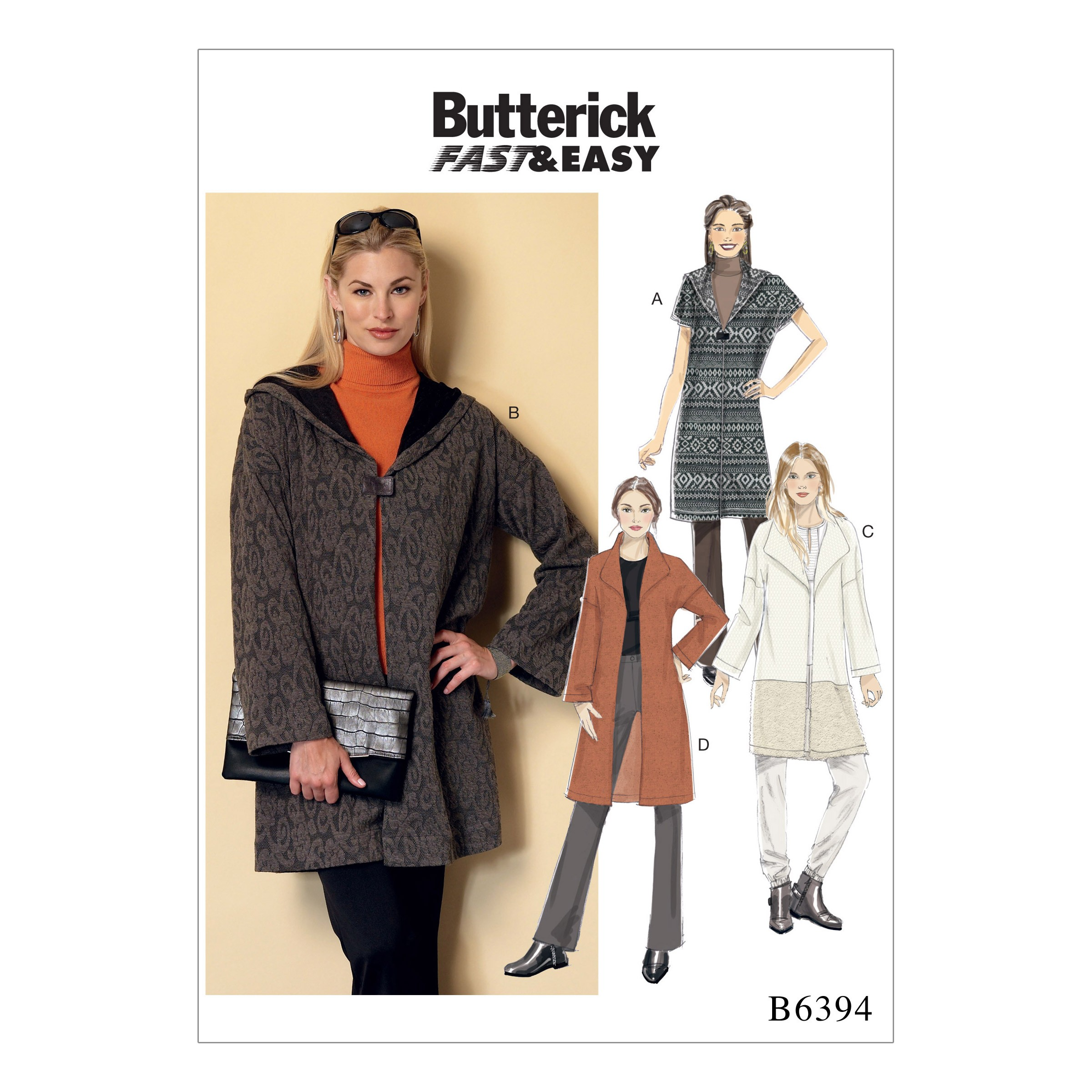 Butterick Sewing Pattern 6394 Misses' Shawl Collar Coats