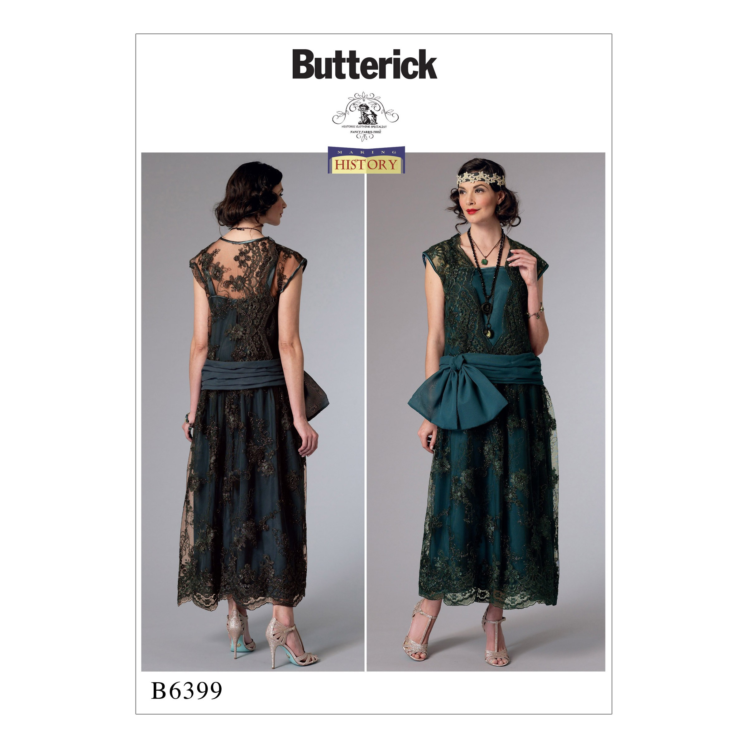 Butterick Sewing Pattern 6399 Misses' Drop Waist Dress With Oversized Bow