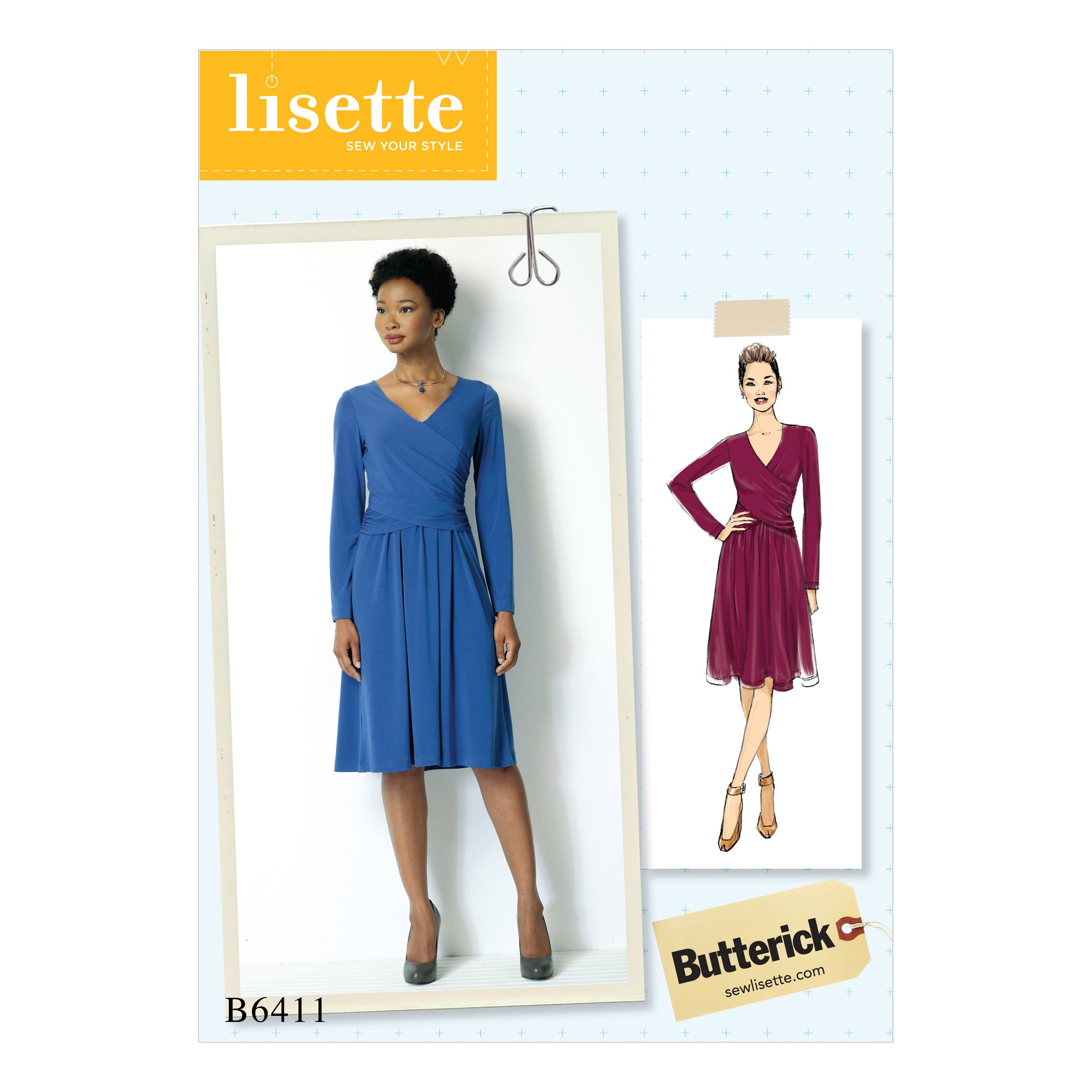 Butterick Sewing Pattern 6411 Misses' Ruched Surplice Dress