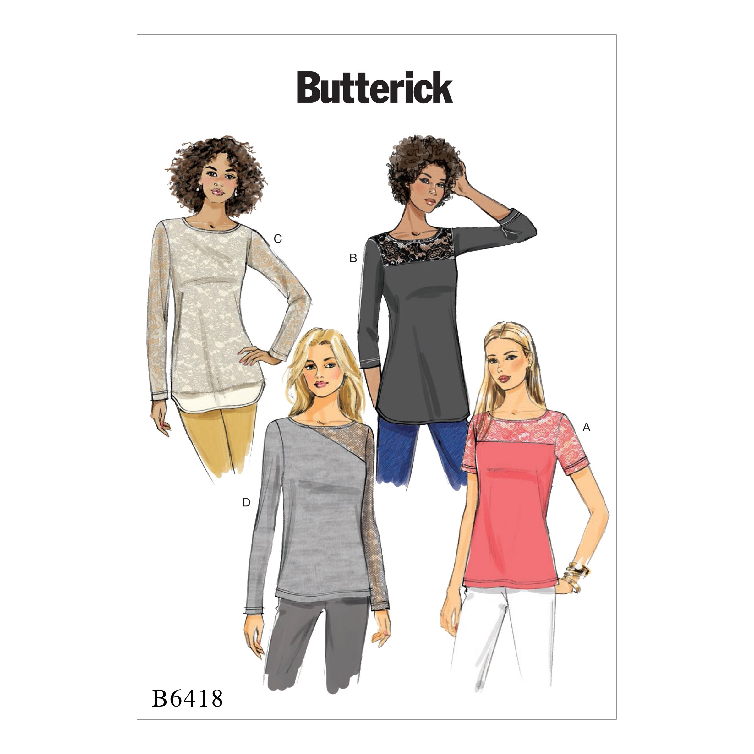 Butterick Sewing Pattern 6418 Misses' Knit Lace Detail Top
