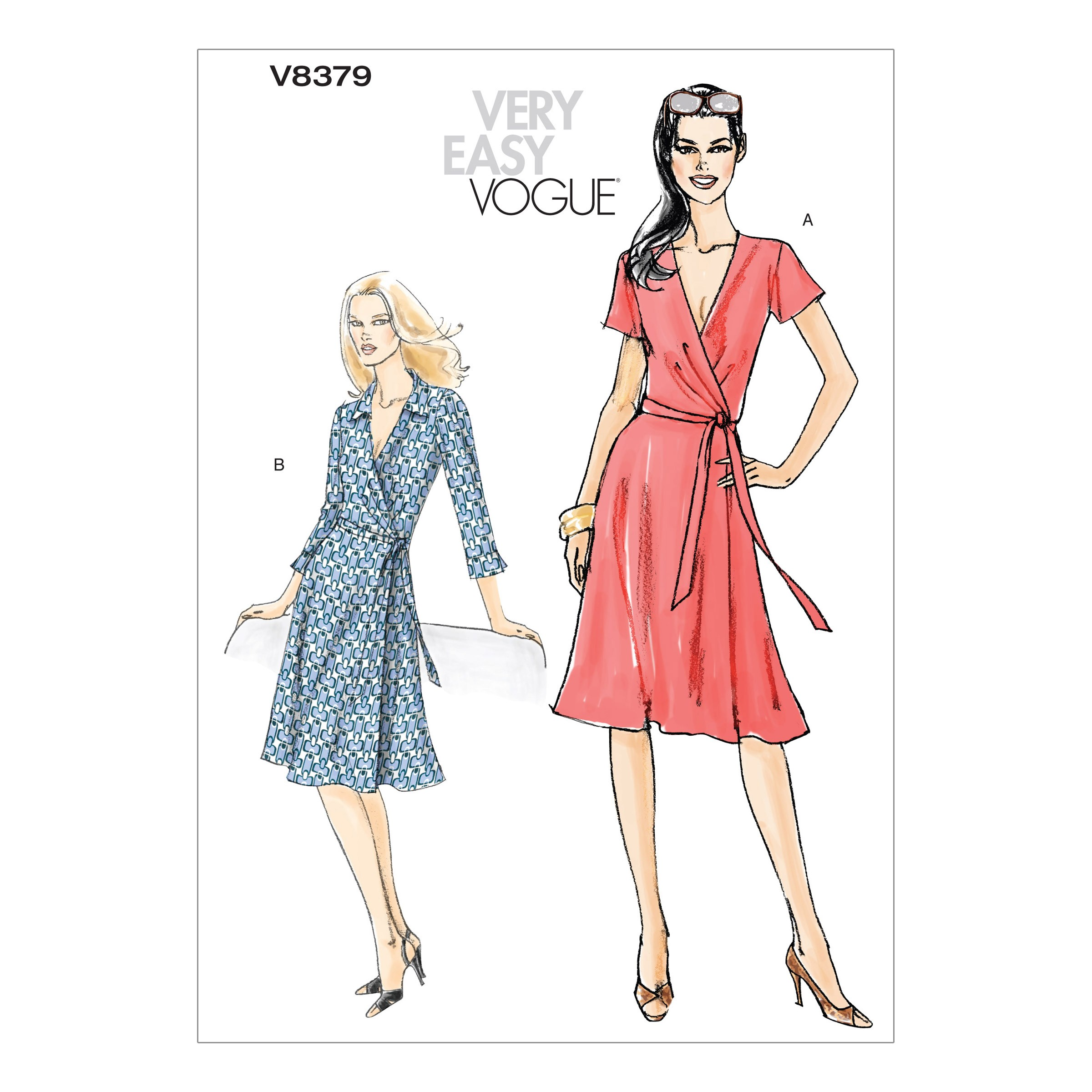 Vogue Sewing Pattern V8379 Women's Front Wrap Dress