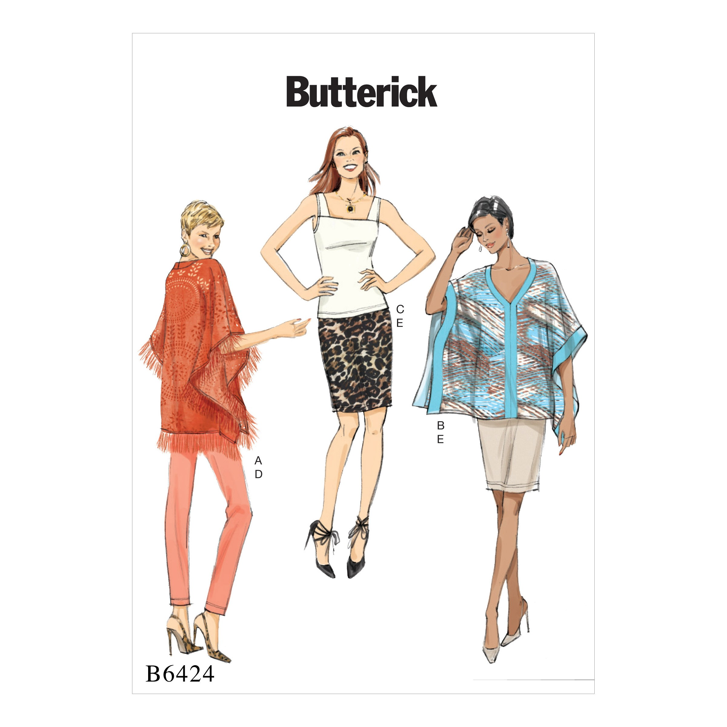 Butterick Sewing Pattern 6424 Misses' Poncho Sleeveless Top Skirt & Trousers