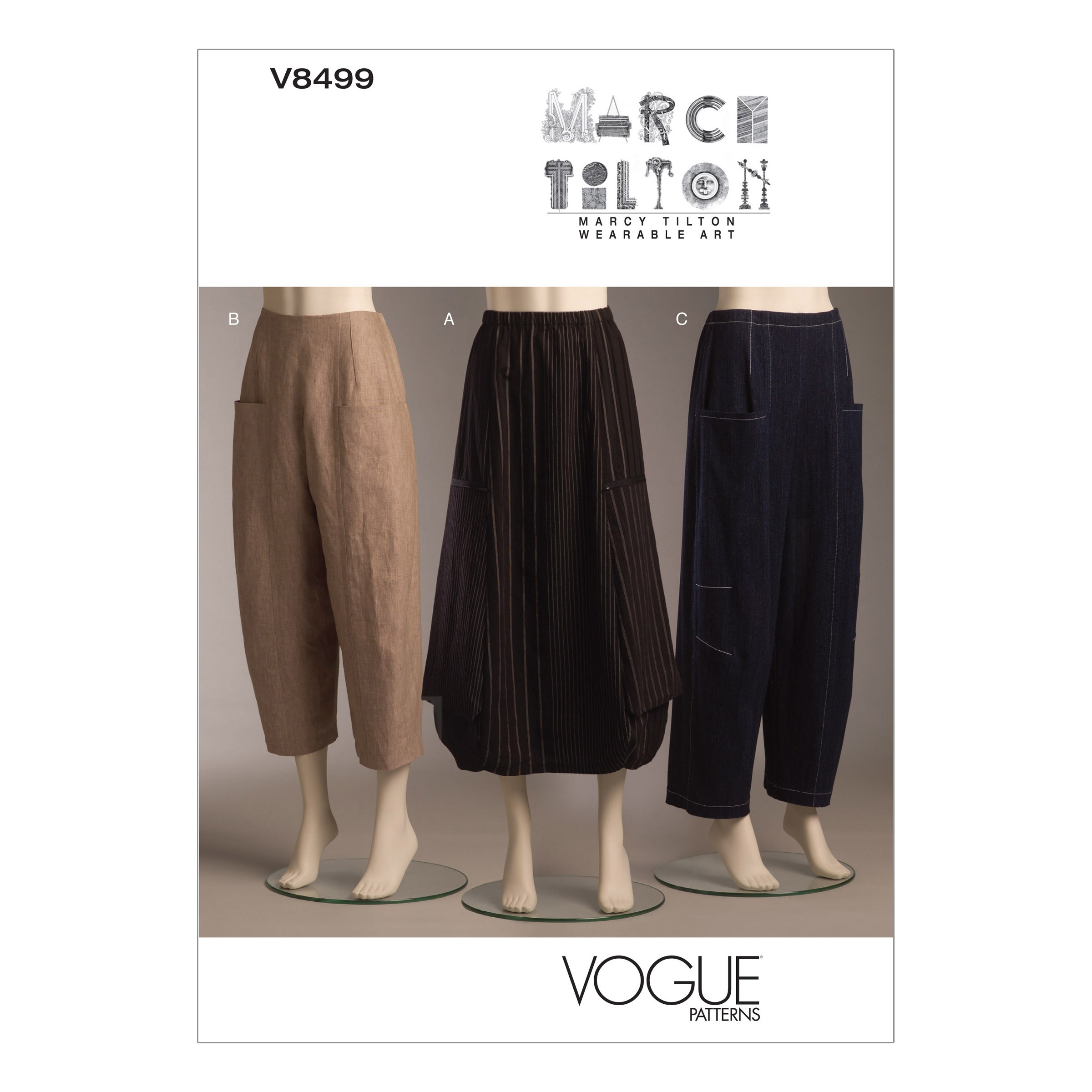 Vogue Sewing Pattern V8499 Women's Very Loose Skirt And Trousers