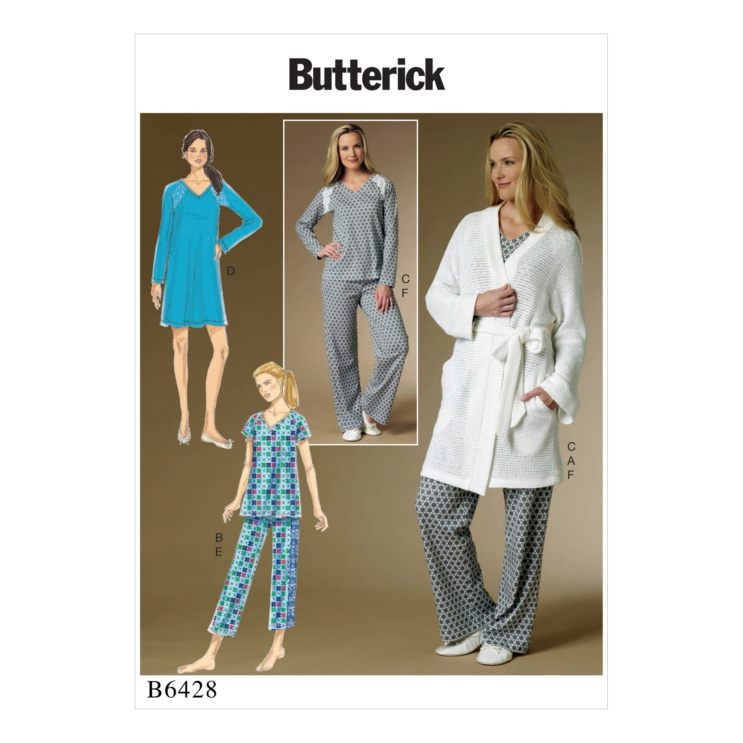 Butterick Sewing Pattern 6428 Misses' Robe Raglan Sleeve Top Gown & Trousers