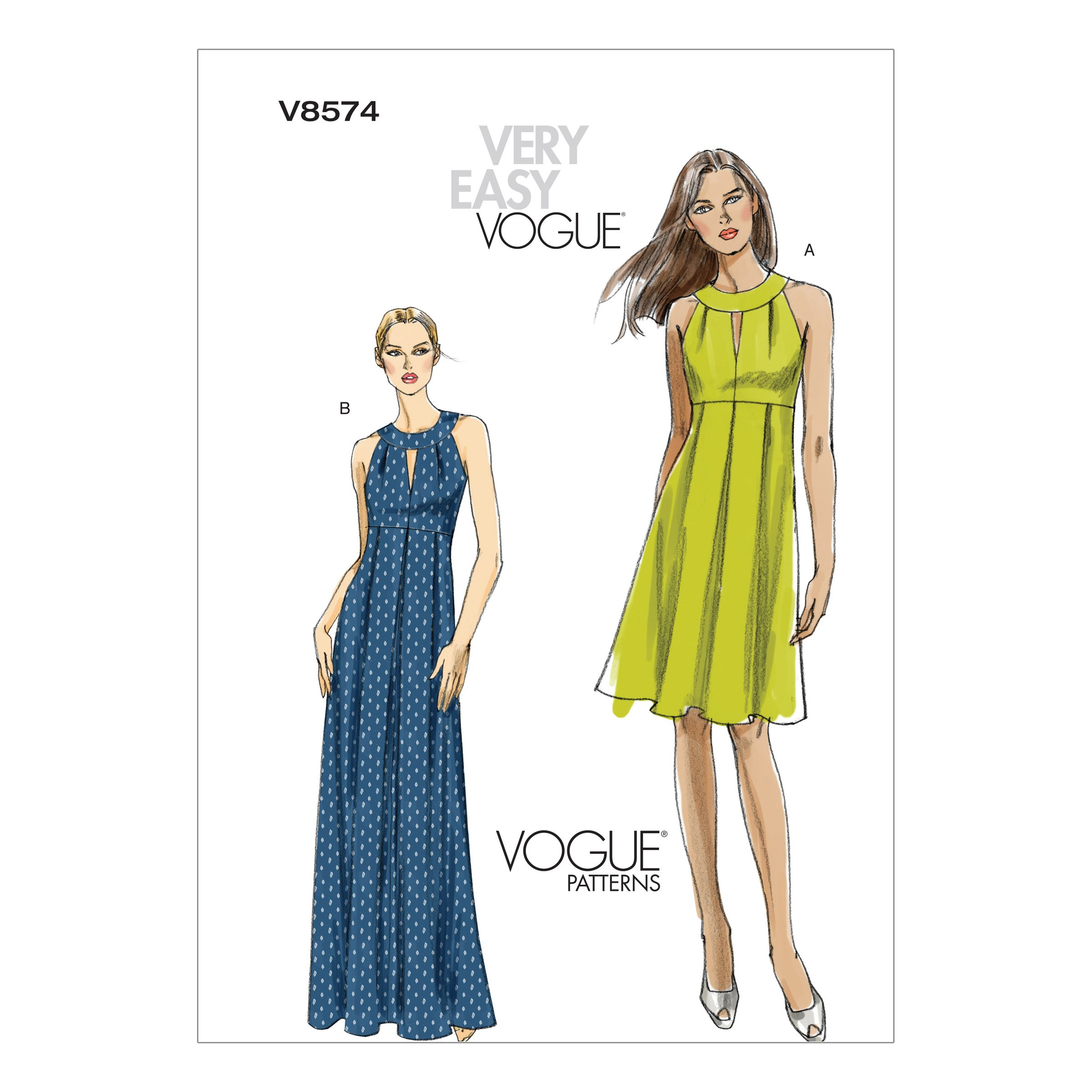 Vogue Sewing Pattern V8574 Women's Slightly Flared Evening Length Dress