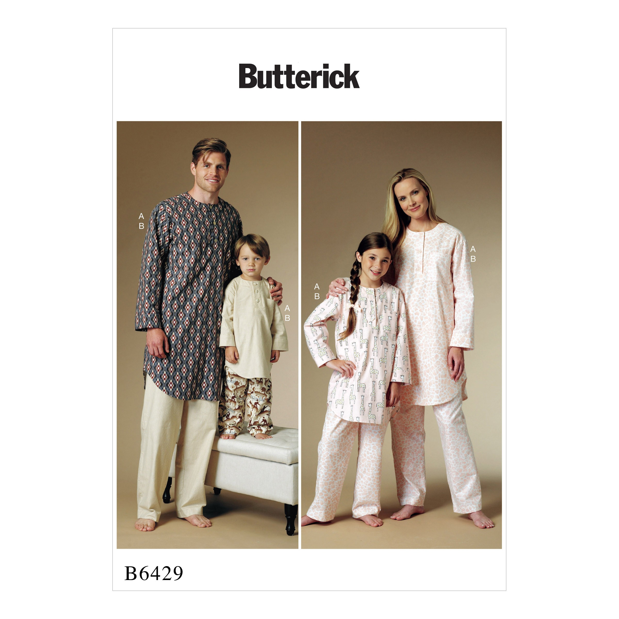 Butterick Sewing Pattern 6429 Family Matching Pyjamas Buttoned Tunic & Trousers