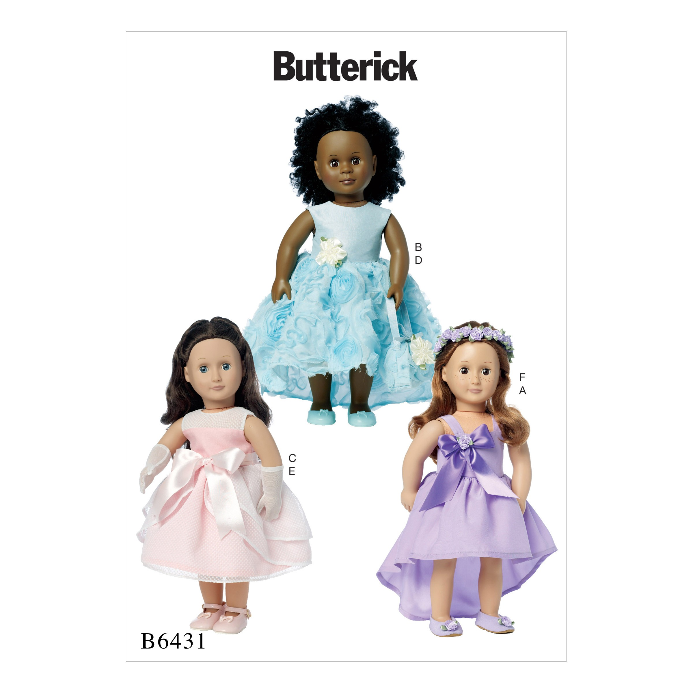"Butterick Sewing Pattern 6431 18"" Doll Clothes Special Occasion Dress Bag Gloves"