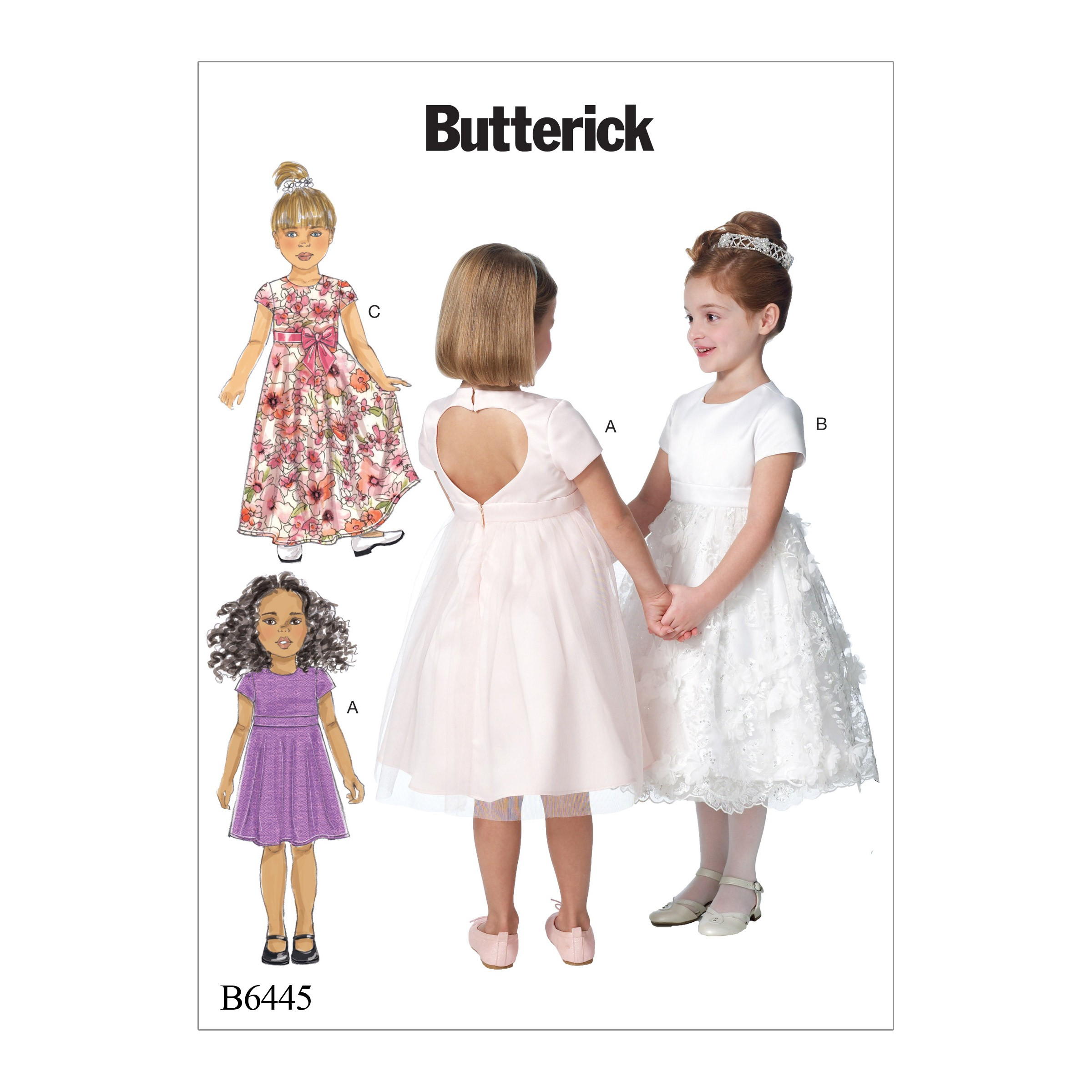 Butterick Sewing Pattern 6445 Children's Girls Dress with Optional Heart Cutout
