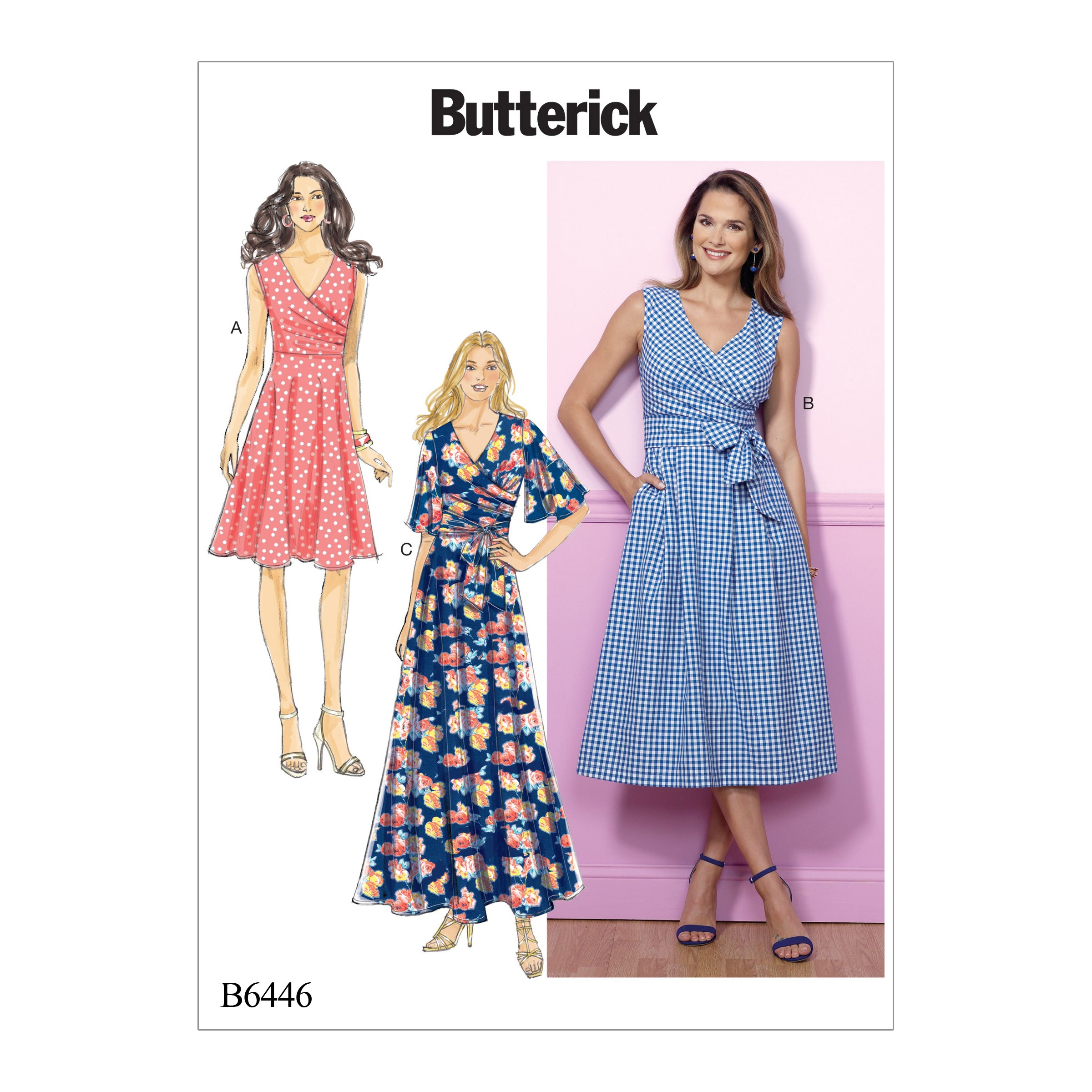 Butterick Sewing Pattern 6446 Misses' Pleated Wrap Dress with Sash