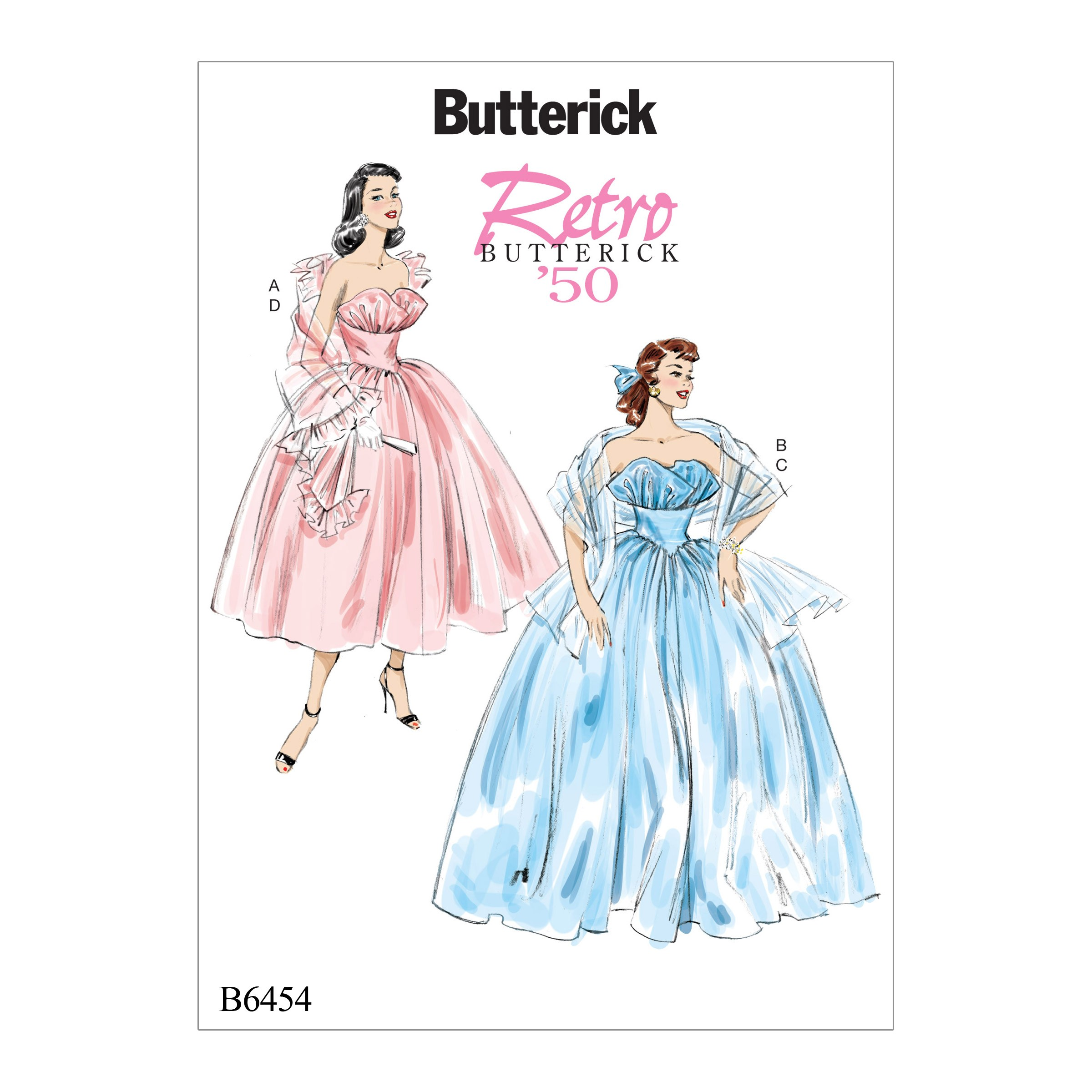 Butterick Sewing Pattern 6454 Misses' Ruffled Dresses & Shawls