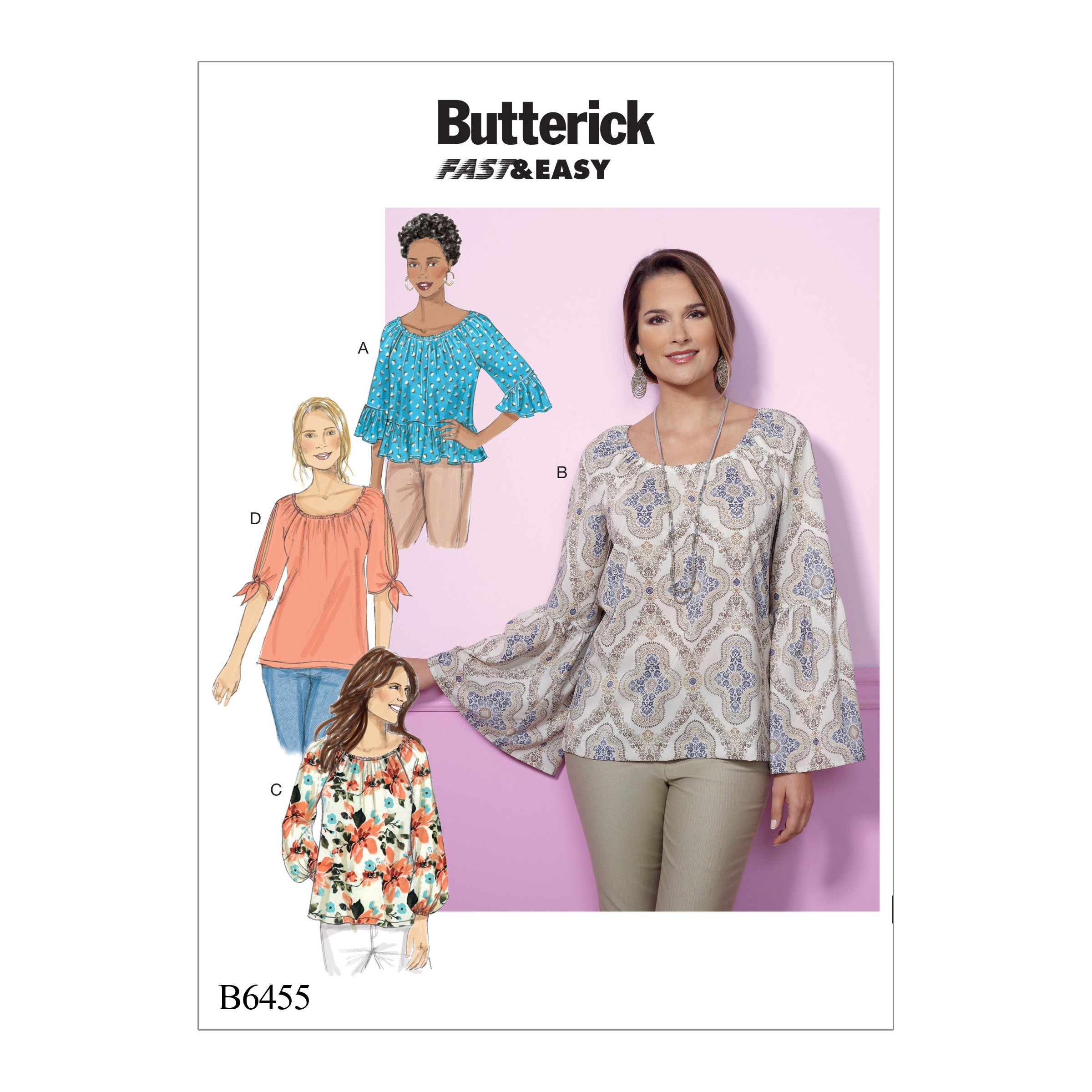 Butterick Sewing Pattern 6455 Misses' Gathered Raglan Sleeve Top