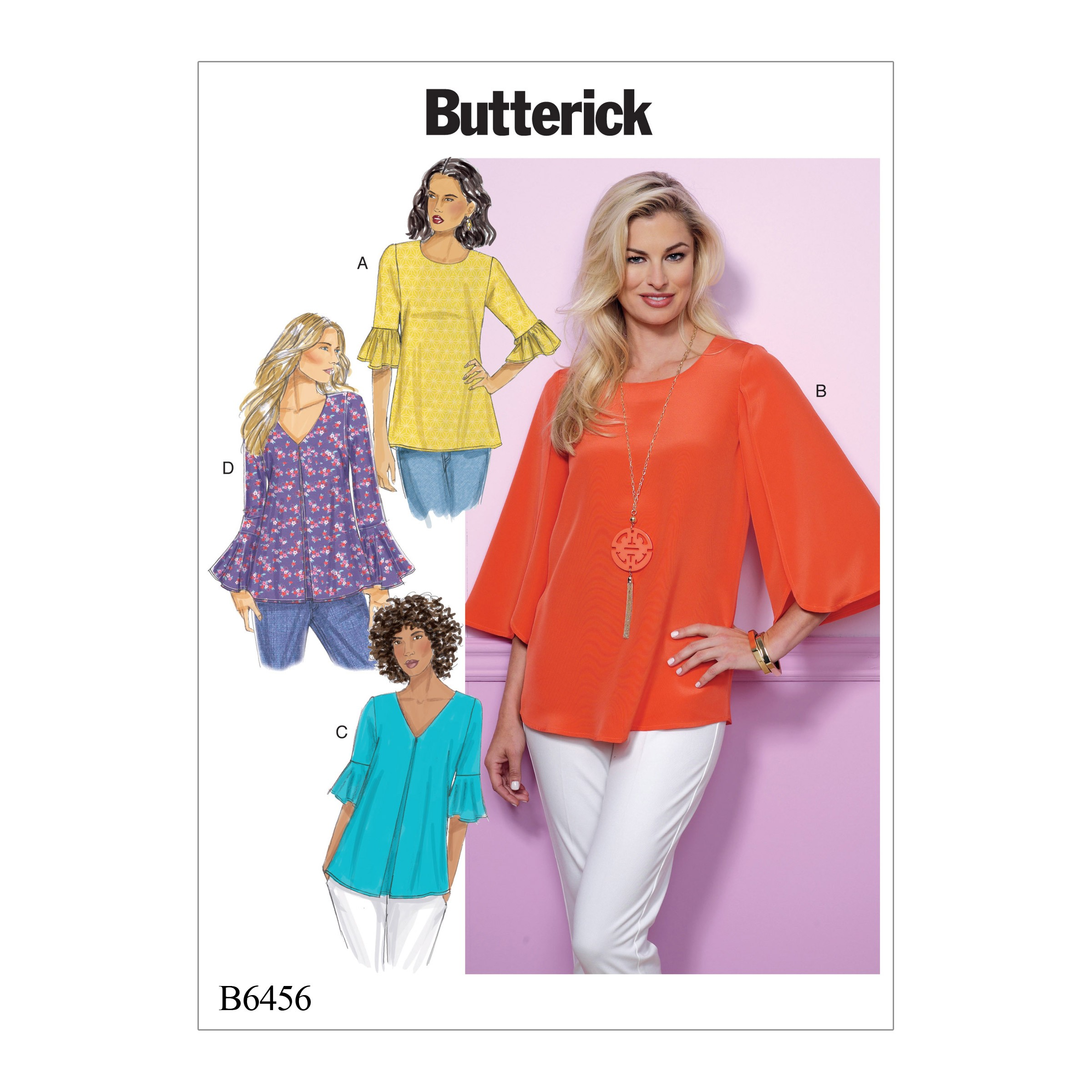 Butterick Sewing Pattern 6456 Misses' Tulip or Ruffle Sleeve Top