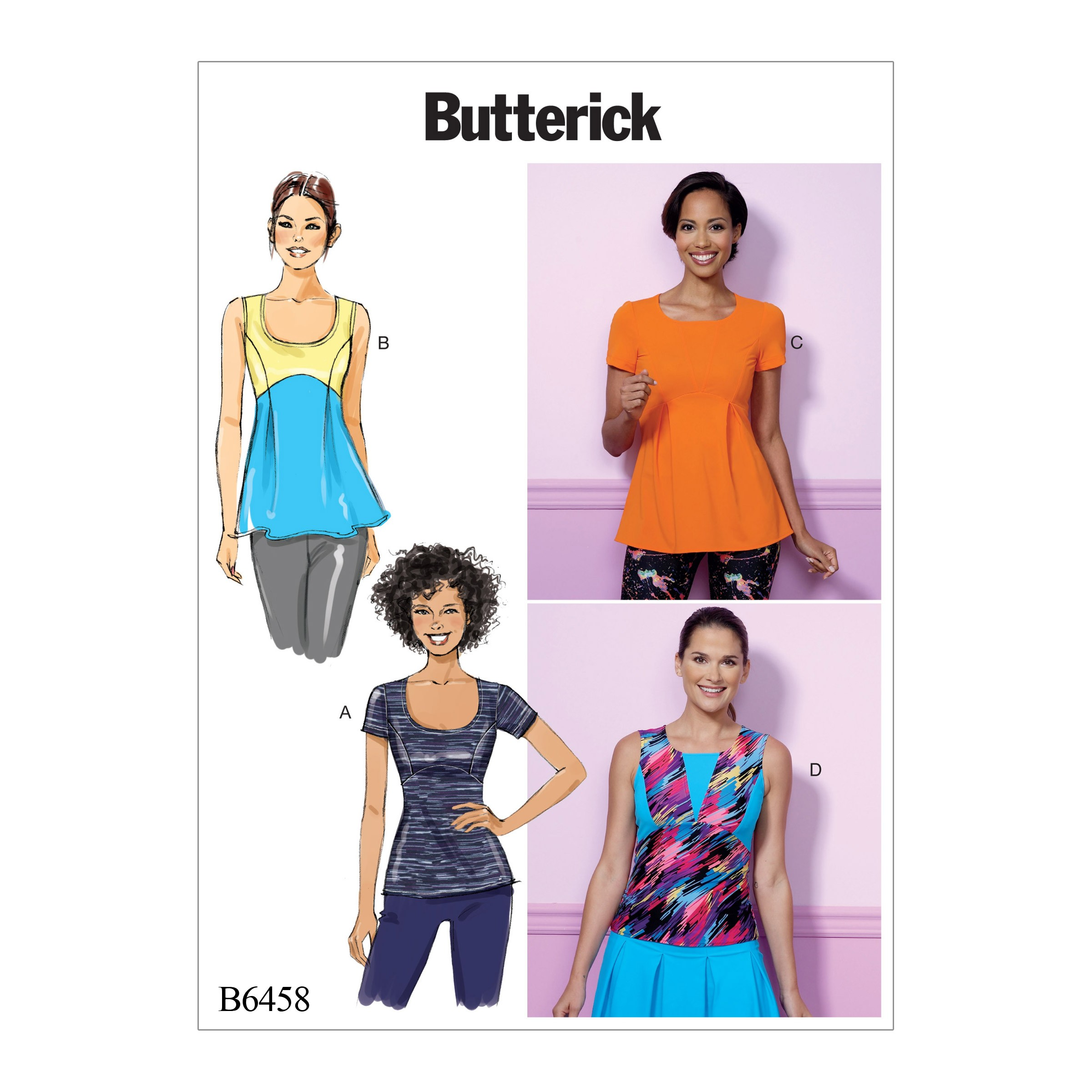 Butterick Sewing Pattern 6458 Misses' Pullover Panelled Tops