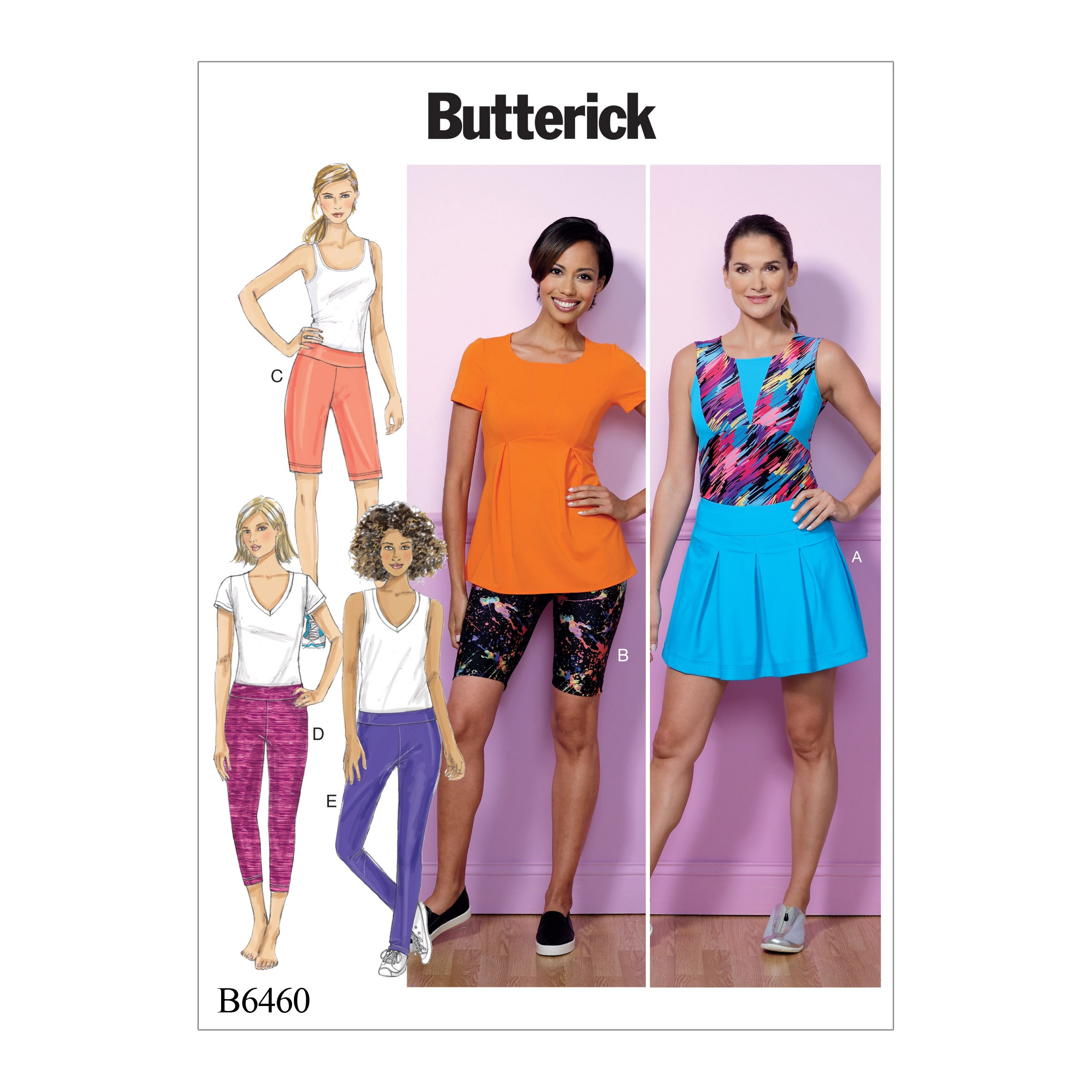 Butterick Sewing Pattern 6460 Misses' Pleated Skirt & Pull On Shorts & Trousers