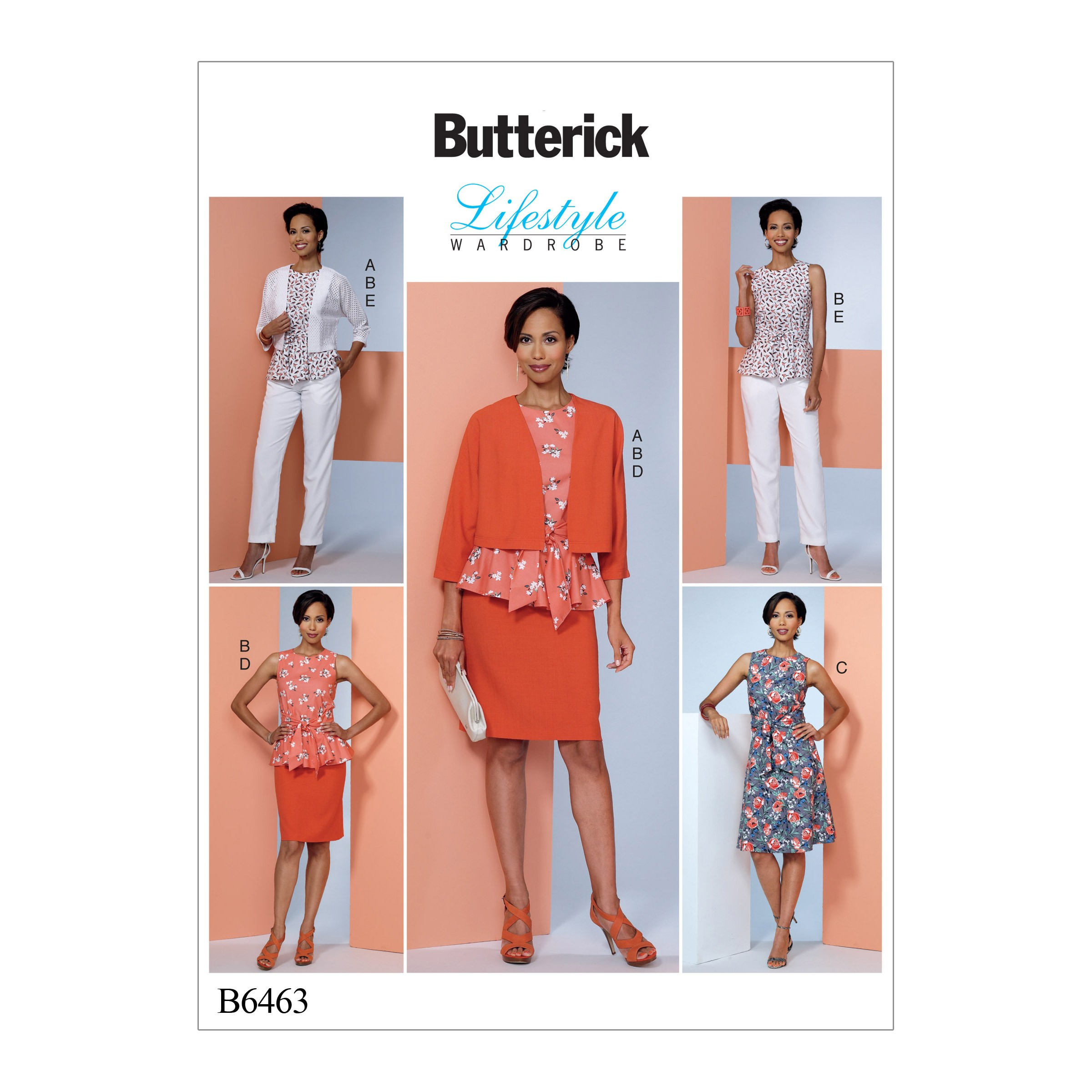 Butterick Sewing Pattern 6463 Misses' Dolman Sleeve Jacket Attached Sash Top & Dress