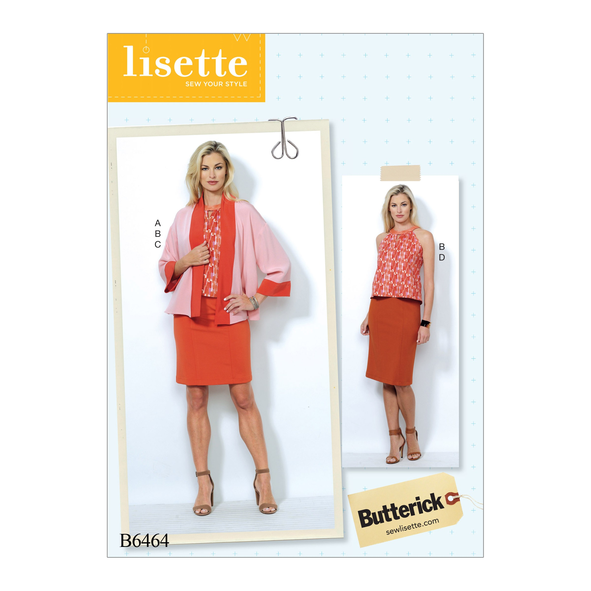 Butterick Sewing Pattern 6464 Misses' Banded Jacket Notch Neck Top Pencil Skirt