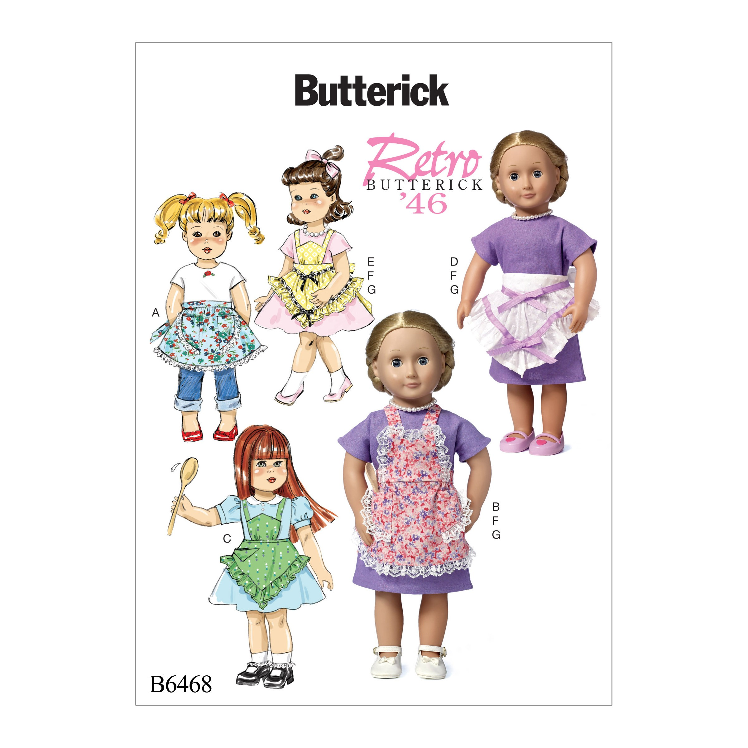 "Butterick Sewing Pattern 6468 18"" Doll Clothes Ruffled Aprons Dress & Necklace"
