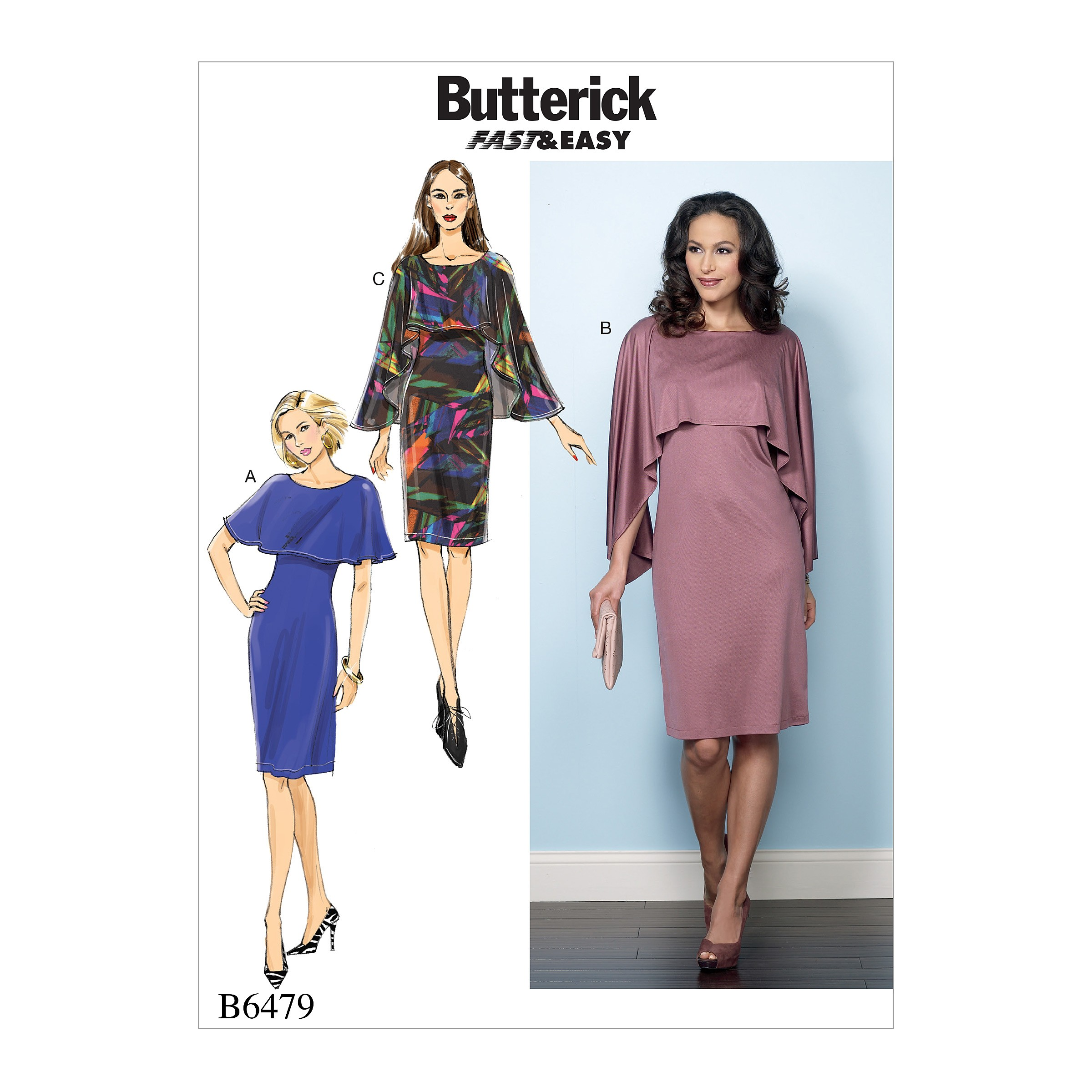 Butterick Sewing Pattern 6479 Misses' Pullover Dress with Attached Capelet