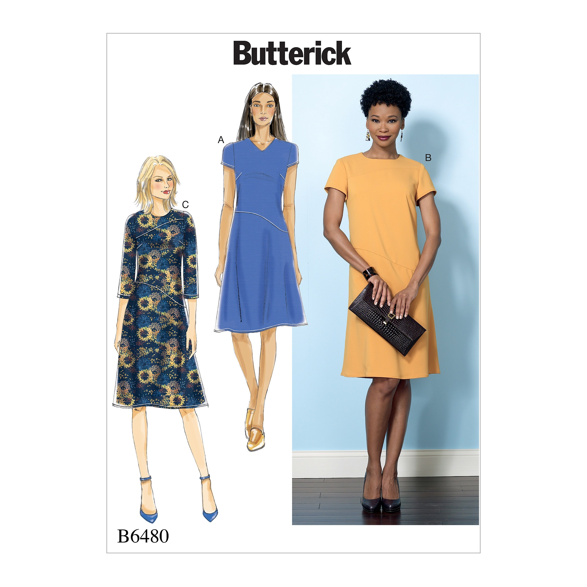 Butterick Sewing Pattern 6480 Misses' Fitted Dress Neck & Sleeve Variations