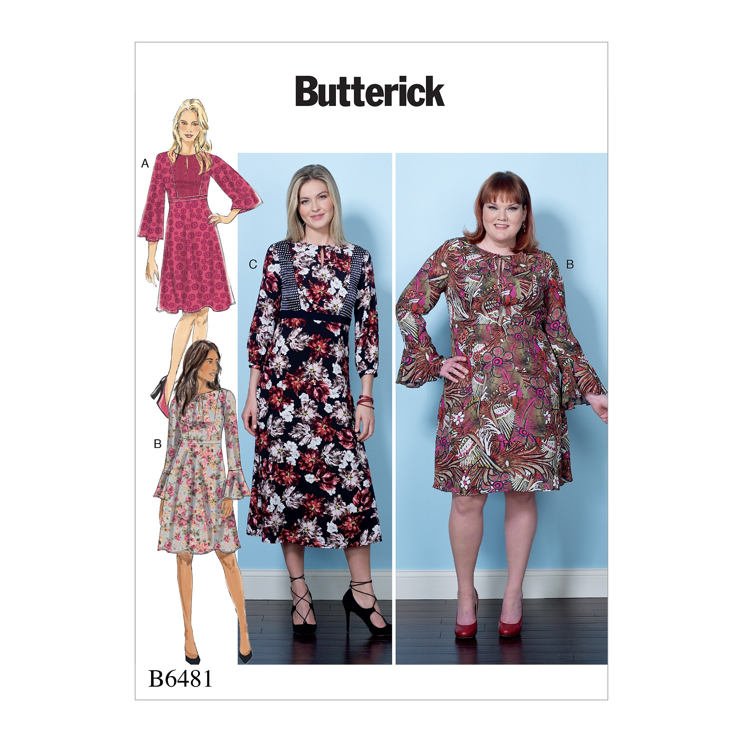 Butterick Sewing Pattern 6481 Misses' Dress with Set-in Waistband Bodice Options