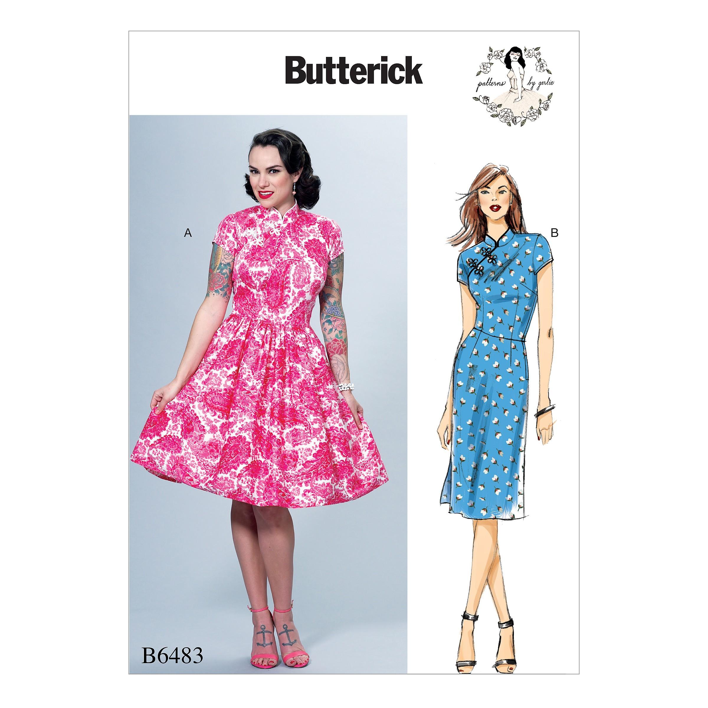 Butterick Sewing Pattern 6483 Misses' Dress with Mandarin Collar & Skirt Options