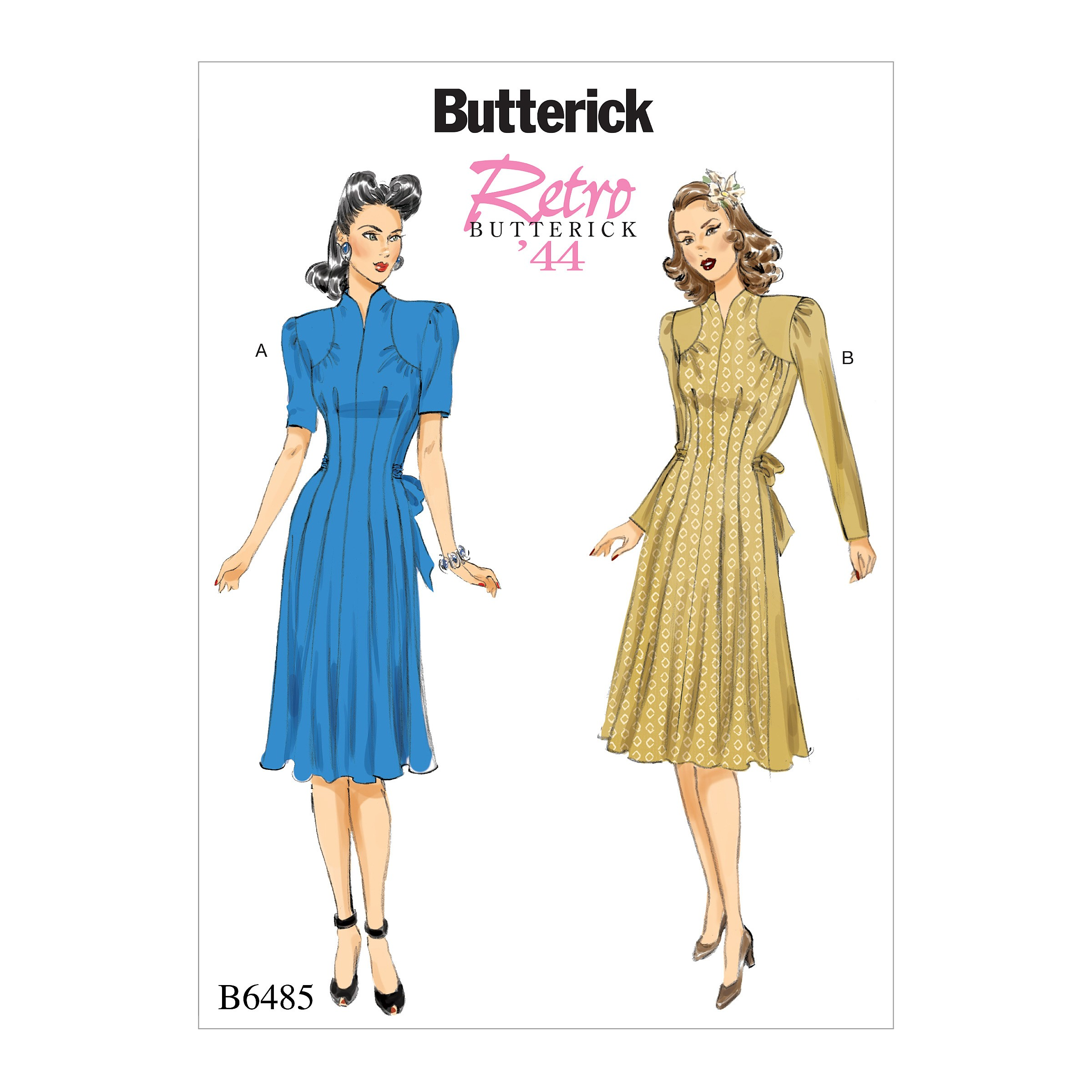 Butterick Sewing Pattern 6485 Misses' Dress With Shoulder & Bust Detail Waist Tie