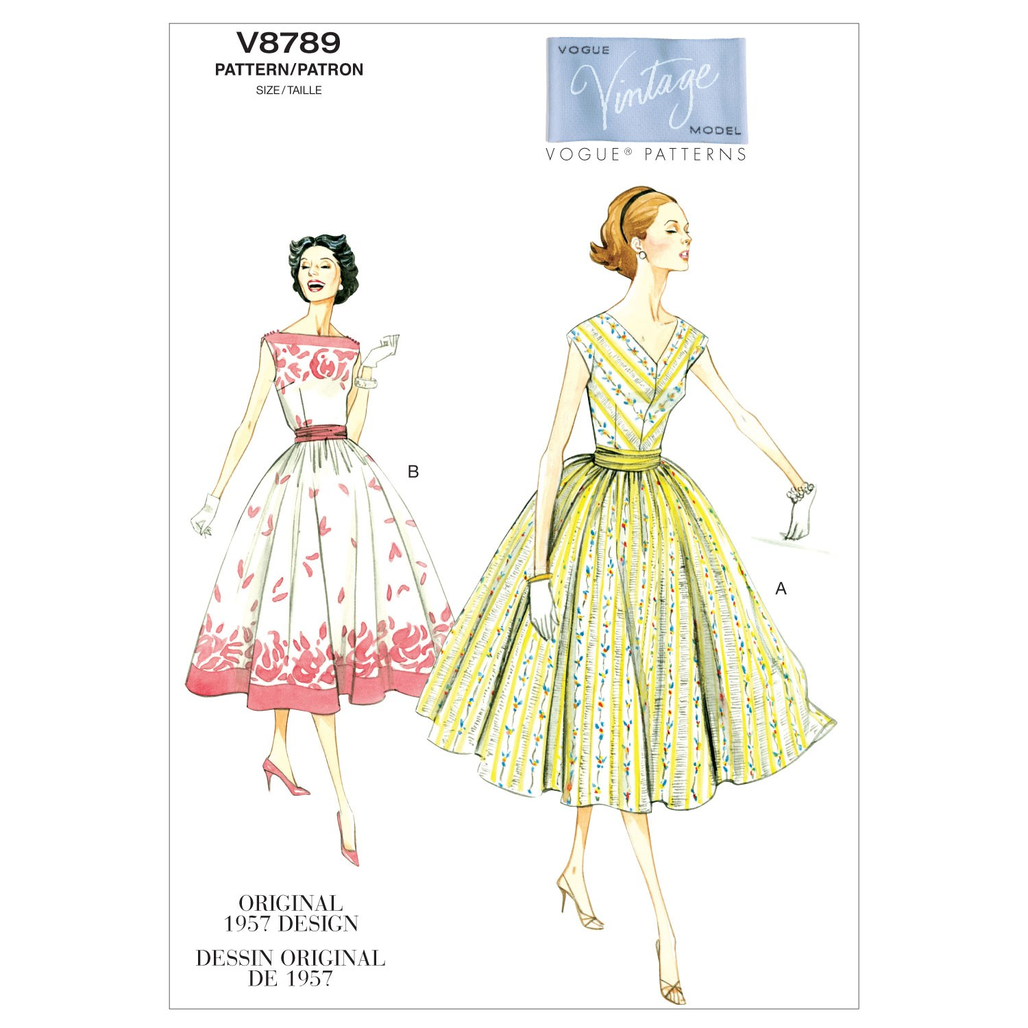 Vogue Sewing Pattern V8789 Women's Vintage Dress With Cummerbund