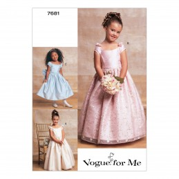Vogue Sewing Pattern V7681 Girl's Special Occasion Dresses with Skirt Options