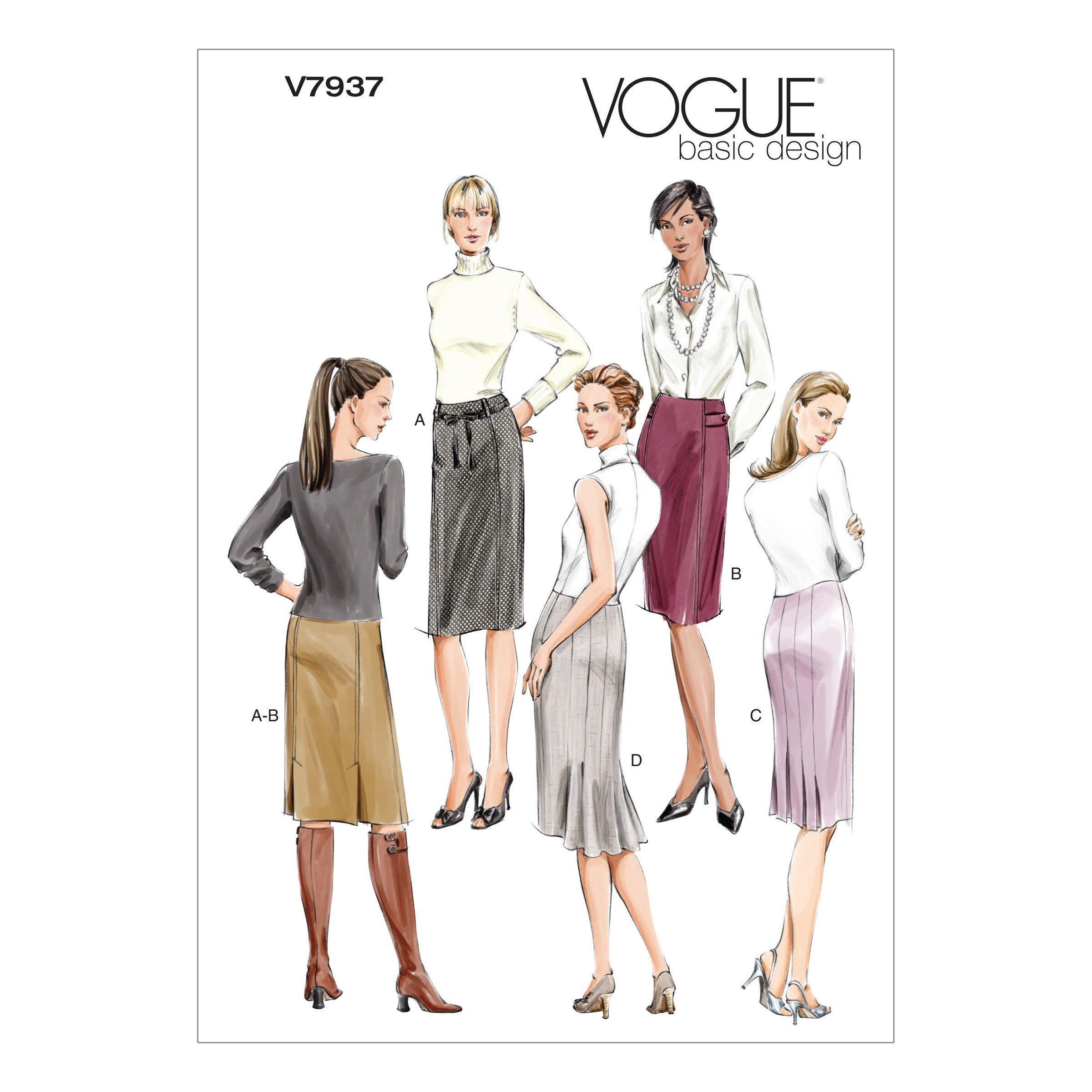 Vogue Sewing Pattern V7937 Women's Skirts with Pleat and Seam Options