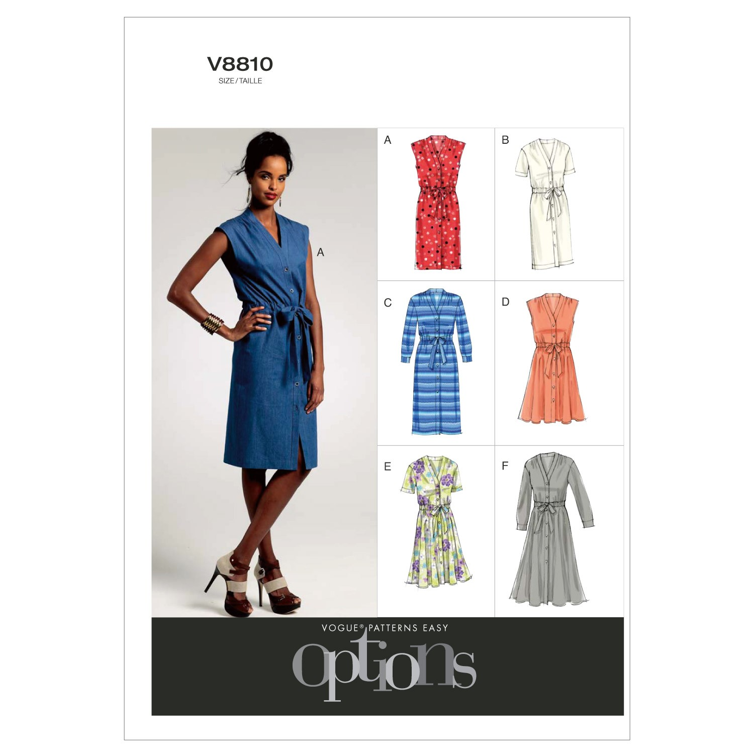 Vogue Sewing Pattern V8810 Women's Petite Dress With Belt