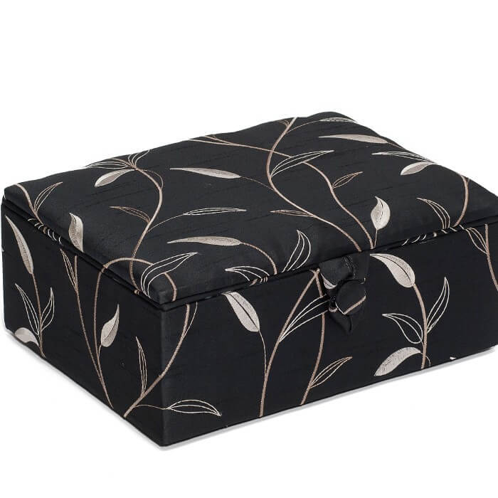Embroidered Leaf Black Premium Stool Large Sewing Craft Basket