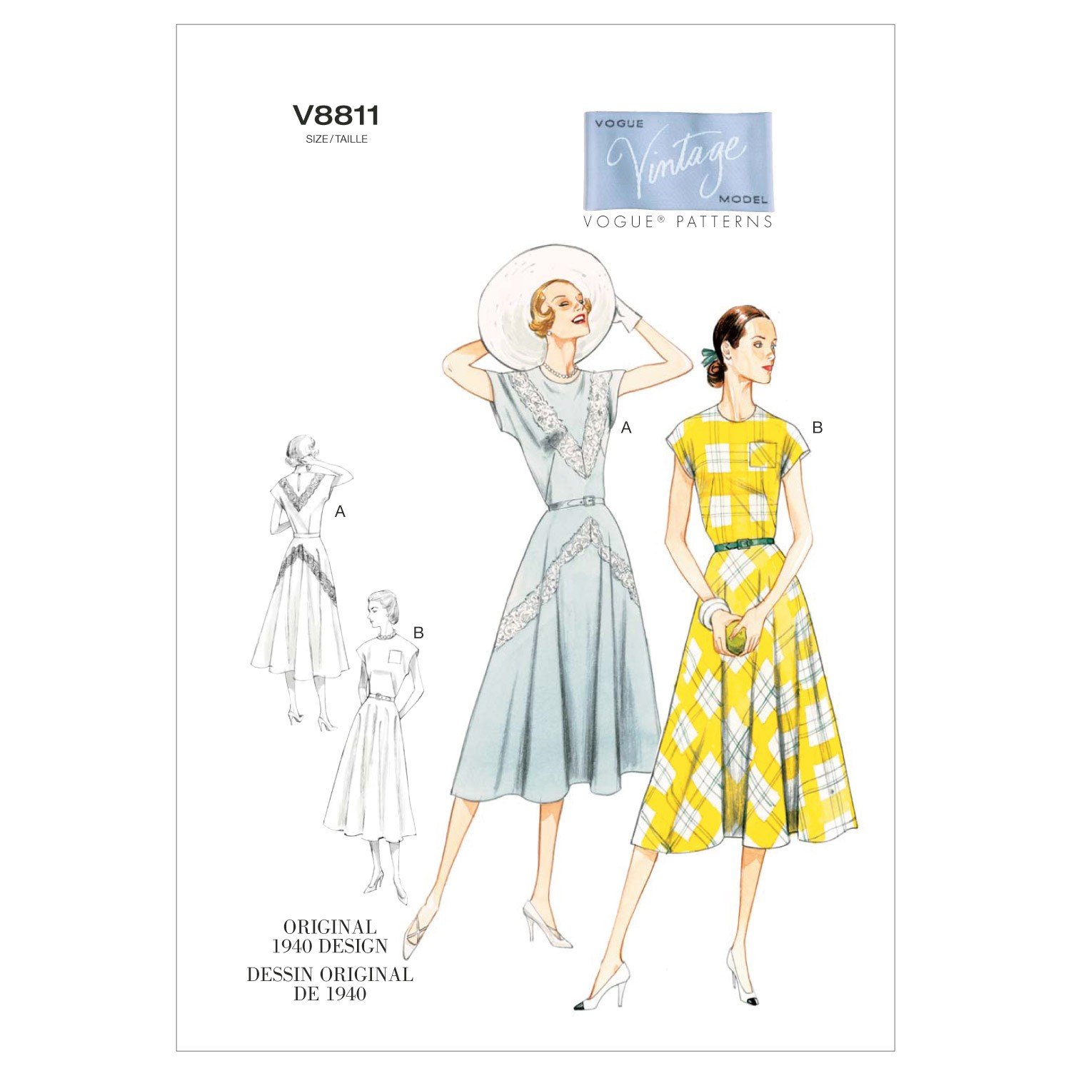 Vogue Sewing Pattern V8811 Women's Vintage Dress And Belt