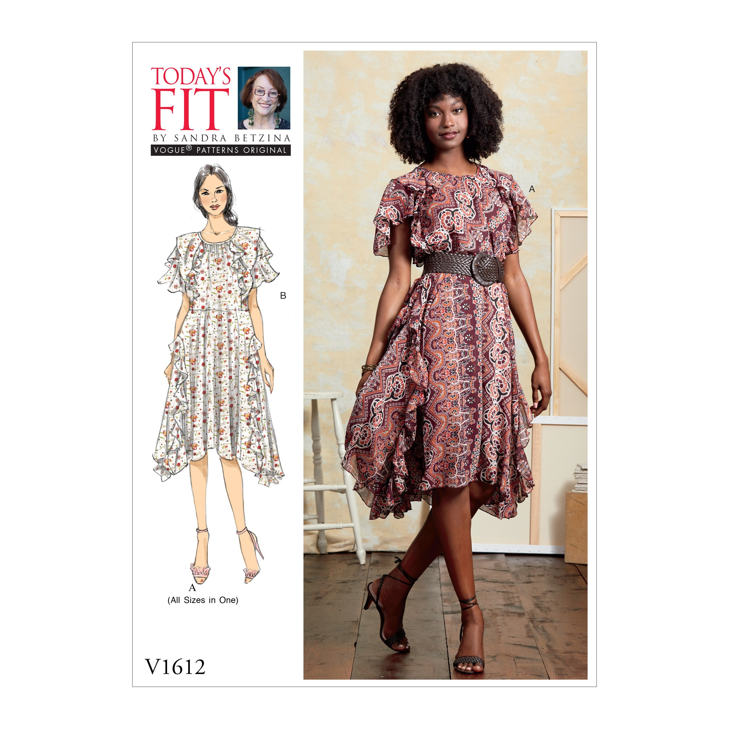 Vogue Sewing Pattern V1612 Women's Ruffle Flounce Detail Dress