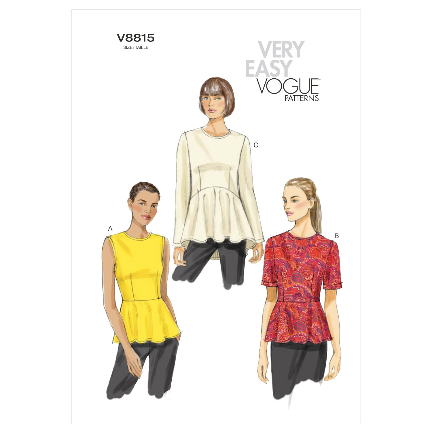 Vogue Sewing Pattern V8815 Women's Peplum Top