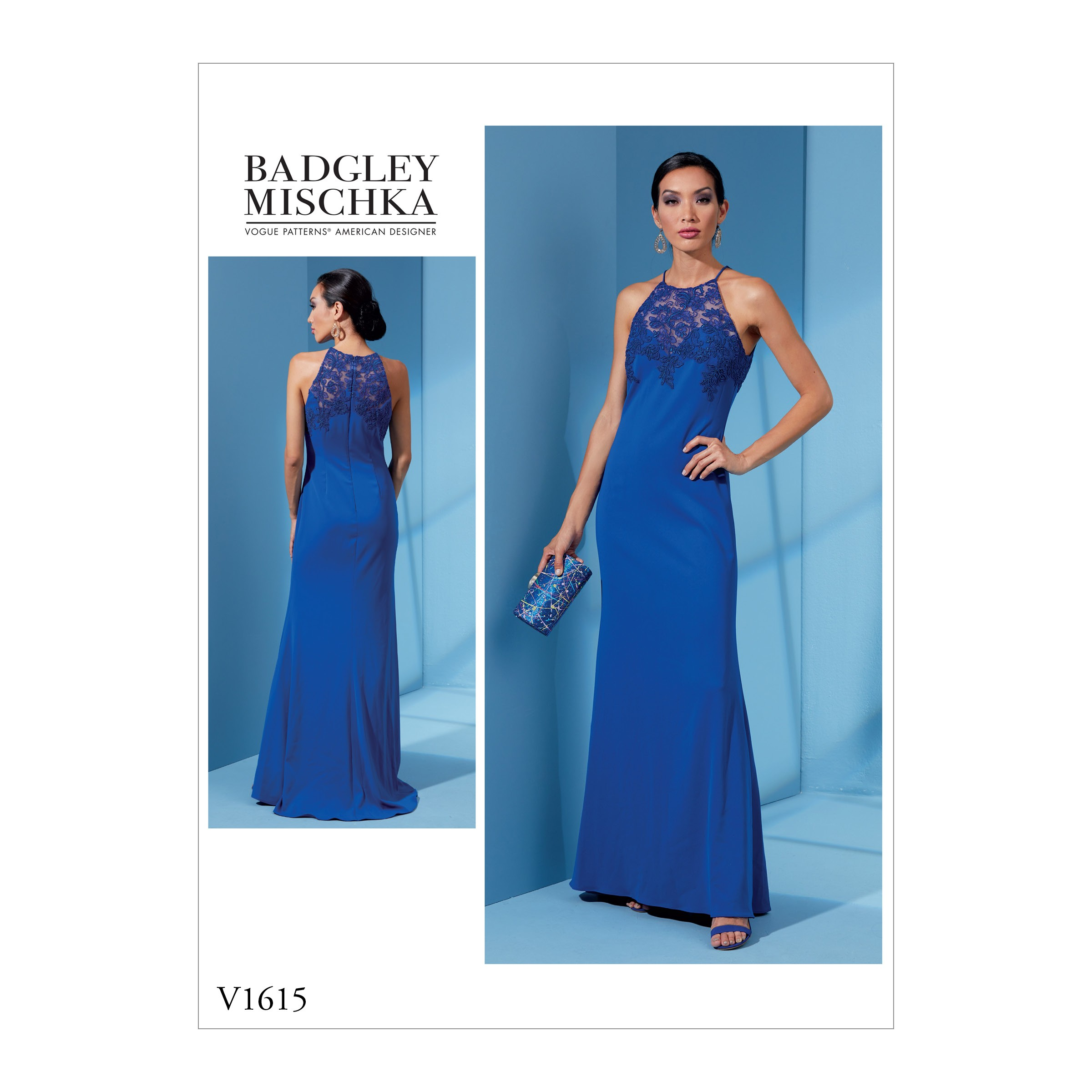 Vogue Sewing Pattern V1615 Women's Fitted Dress with High Neckline Contrast Yoke
