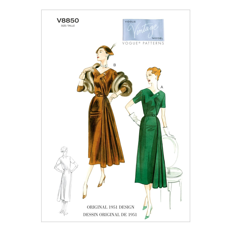 Vogue Sewing Pattern V8850 Women's Vintage Dress