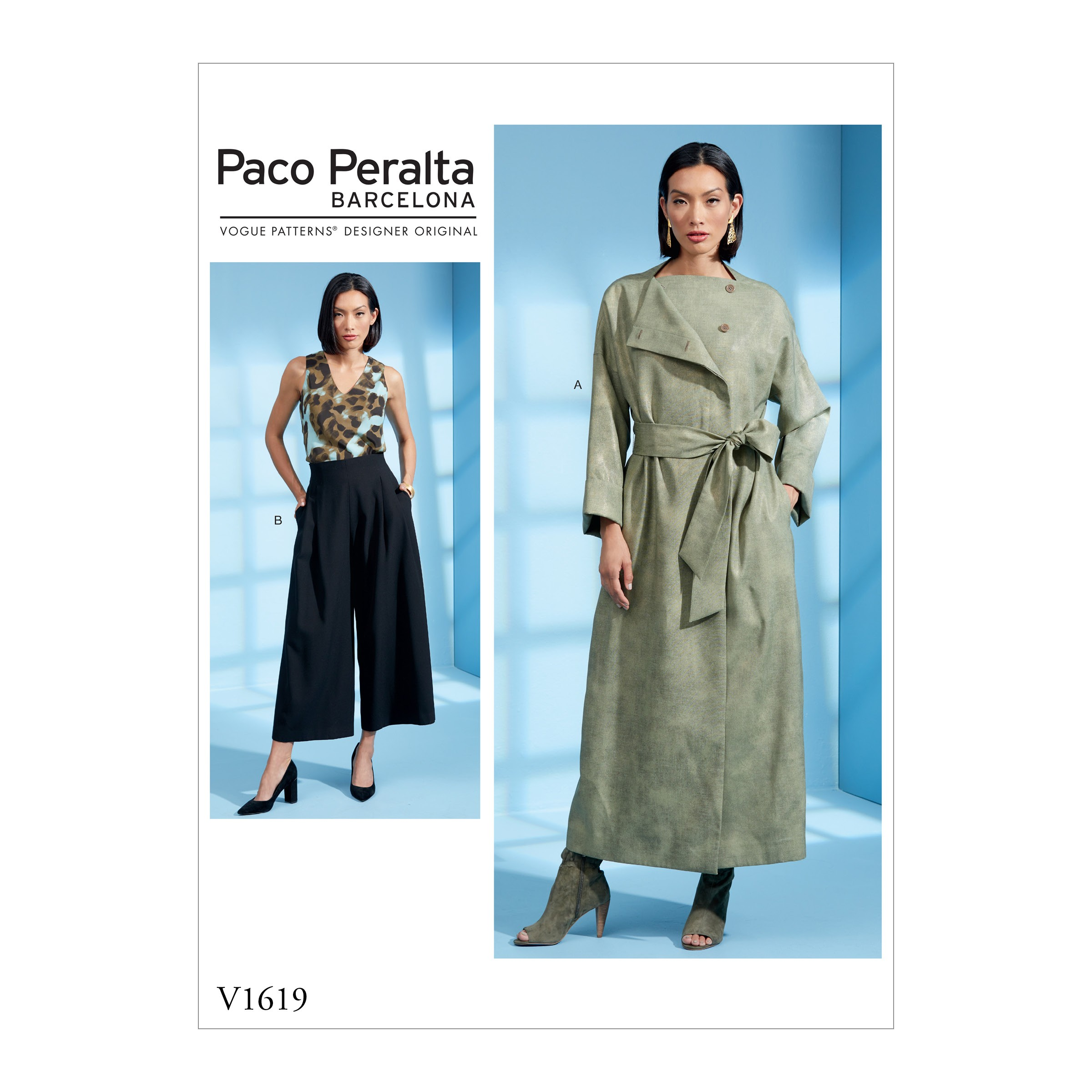 Vogue Sewing Pattern V1619 Women's Duster Coat and Wide Leg Trousers