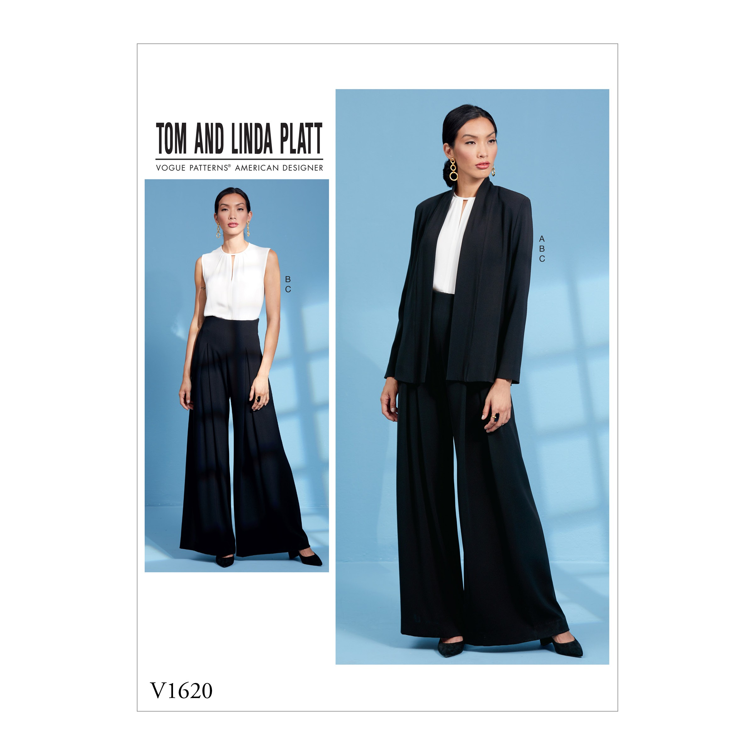 Vogue Sewing Pattern V1620 Women's Wide Leg Trousers with Top and Jacket