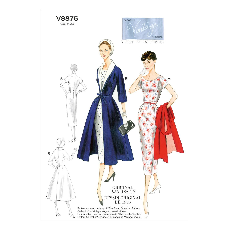 Vogue Sewing Pattern V8875 Women's Dress Belt Coat & Detachable Collar
