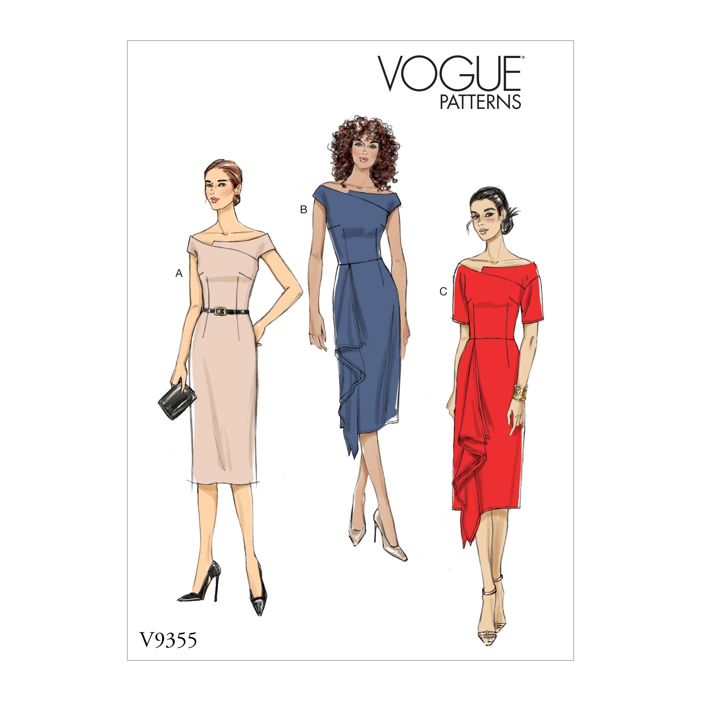 Vogue Sewing Pattern V9355 Women's Off the Shoulder Dress with Asymmetrical Neck