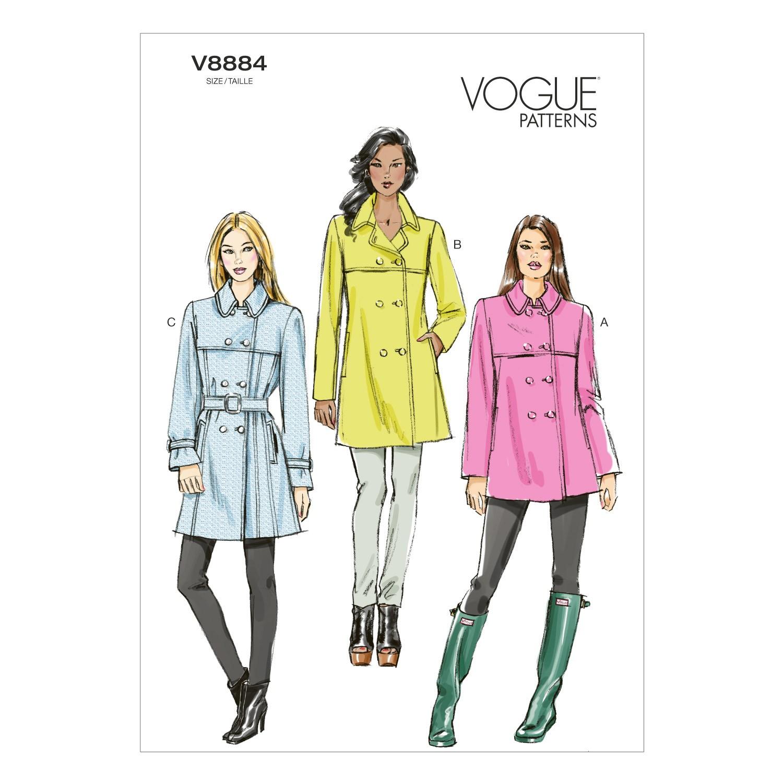 Vogue Sewing Pattern V8884 Women's Coat And Belt