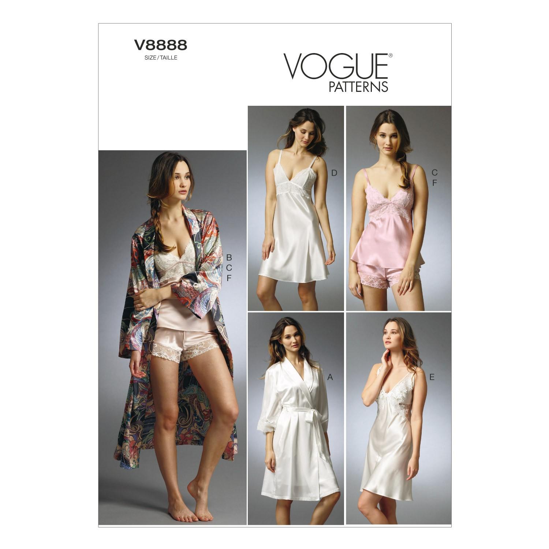 Vogue Sewing Pattern V8888 Women's Robe Slip Camisole And Underwear